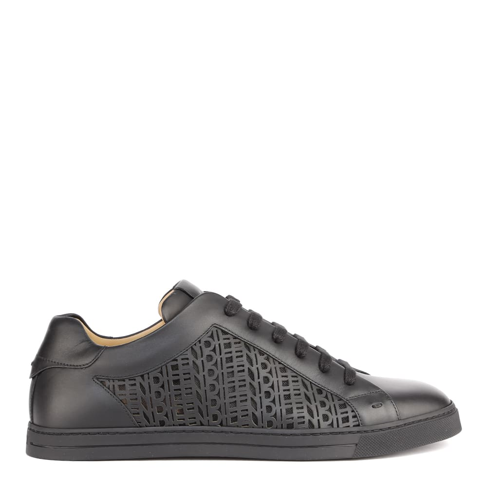 Fendi BLACK LEATHER SNEAKERS WITH CUT-OUT DETAILS