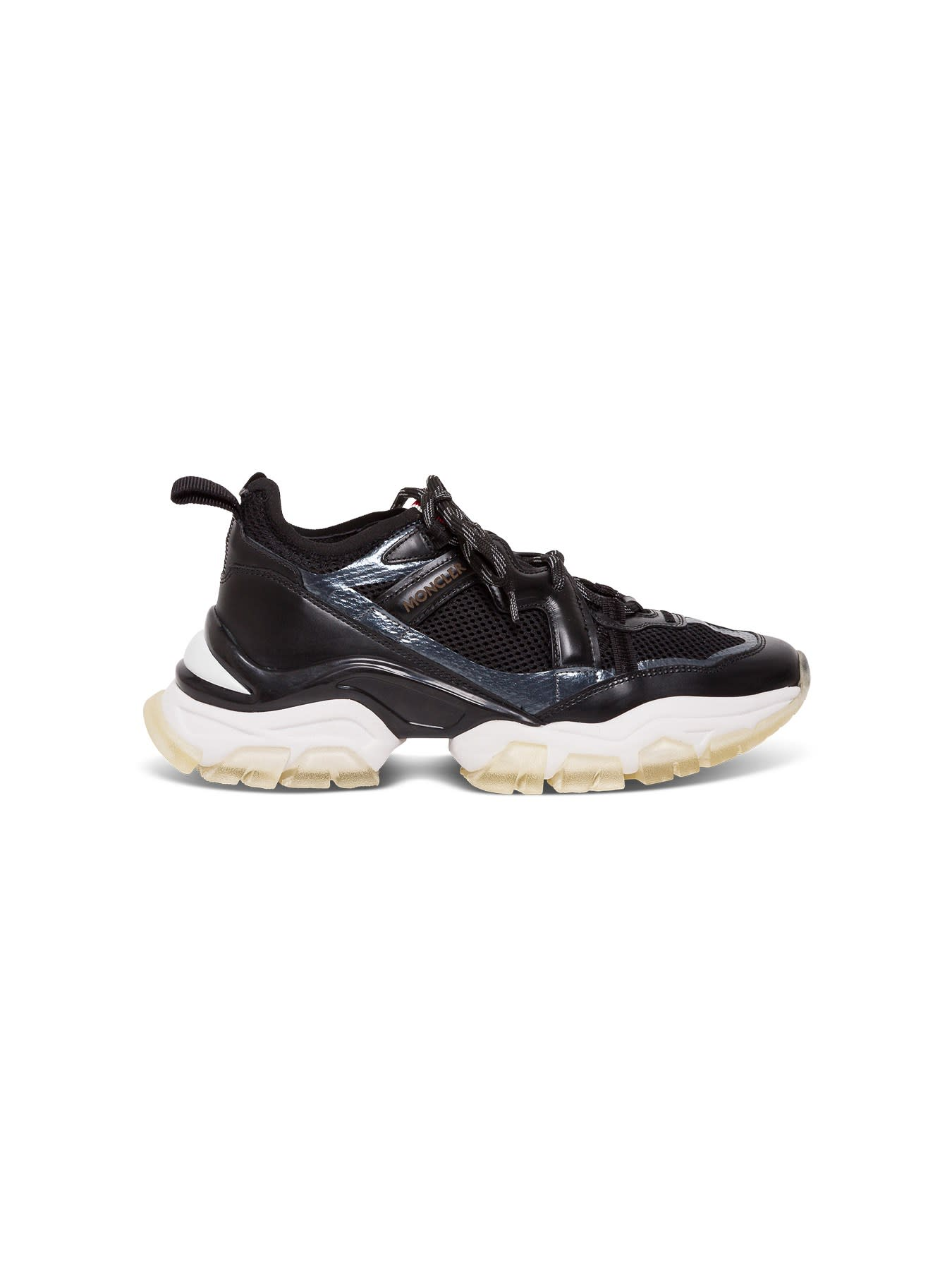 Moncler SNEAKERS IN BLACK LEATHER AND MESH