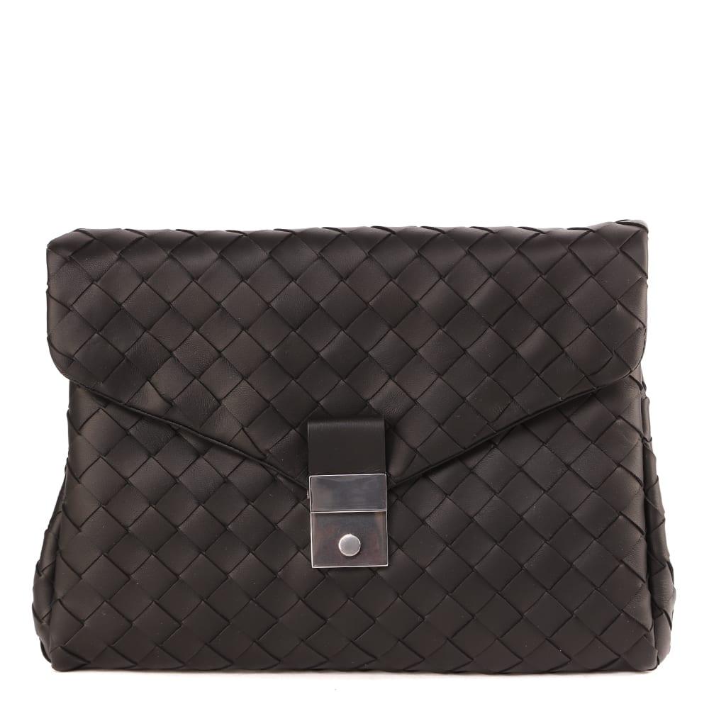 Bottega Veneta Black Woven Leather Hi-tech Bag