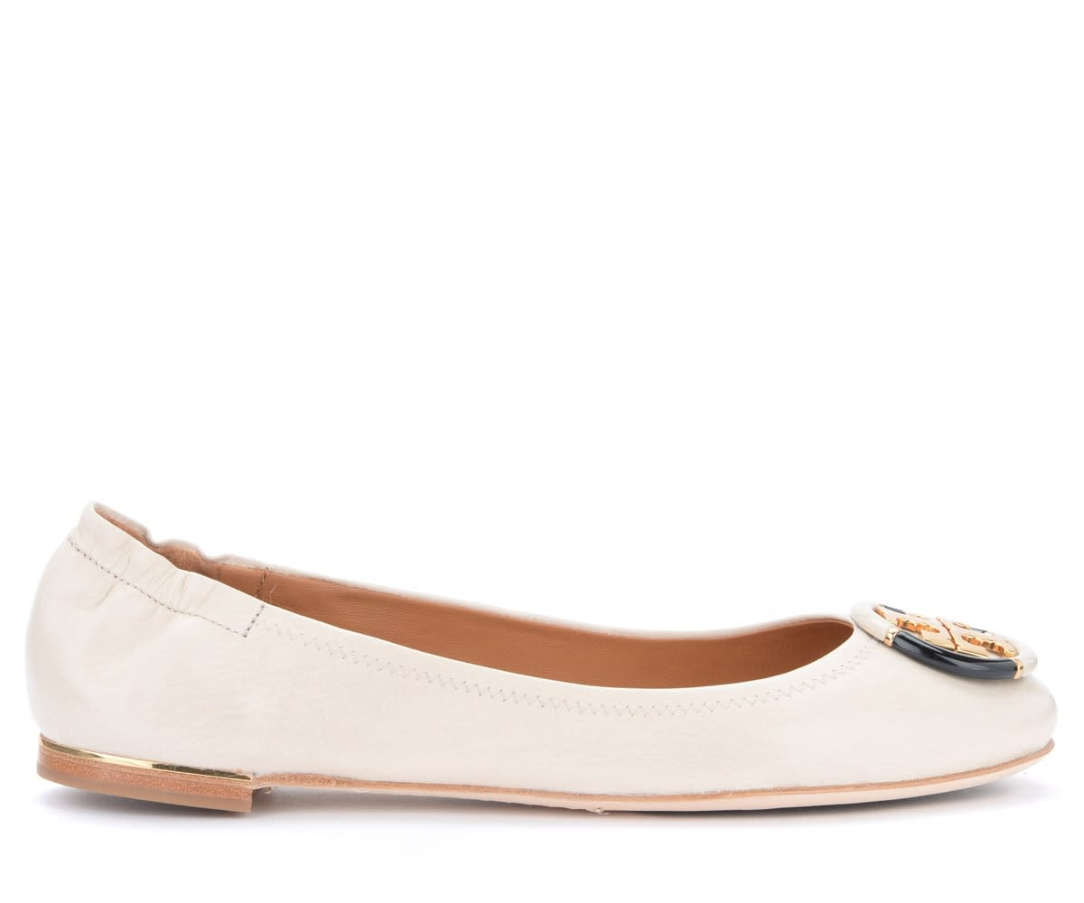 Tory Burch Minnie Travel Beige Ballet Flat Shoes In Soft Ultralight Nappa Leather
