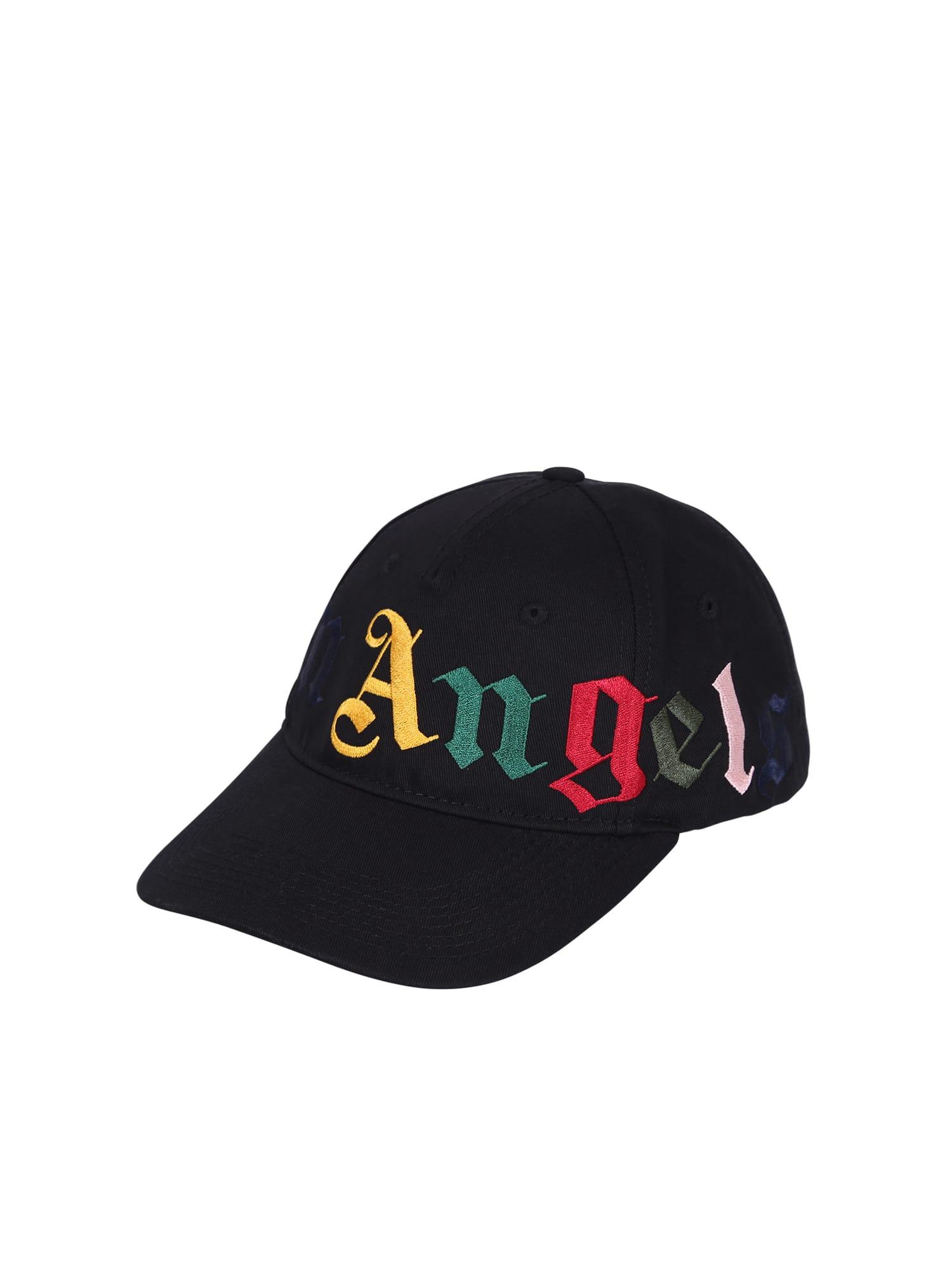 Palm Angels Branded Baseball Hat In Black