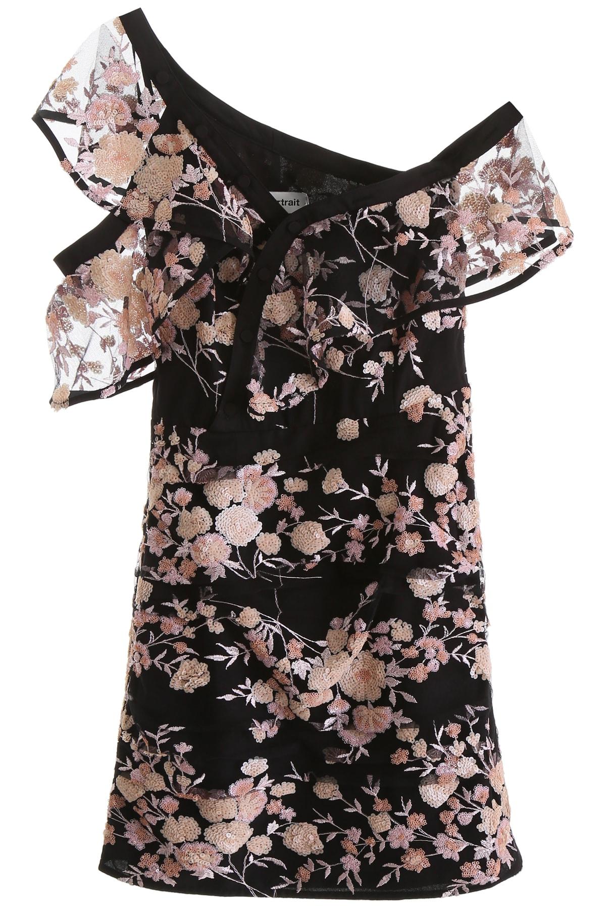 self-portrait Floral Mesh Mini Dress
