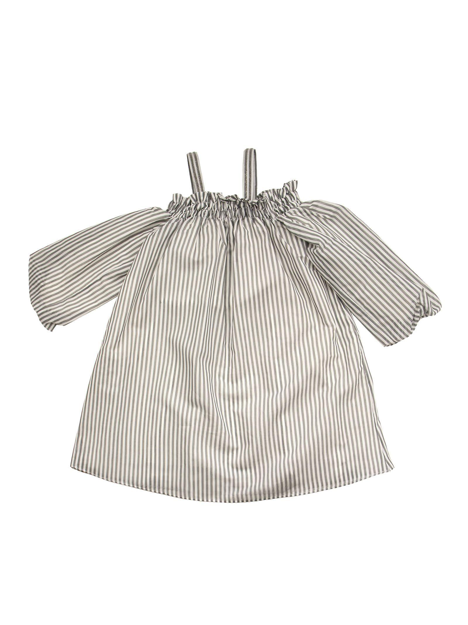 Brunello Cucinelli Off-the-shoulder Dress In Striped Cotton Poplin With Monili