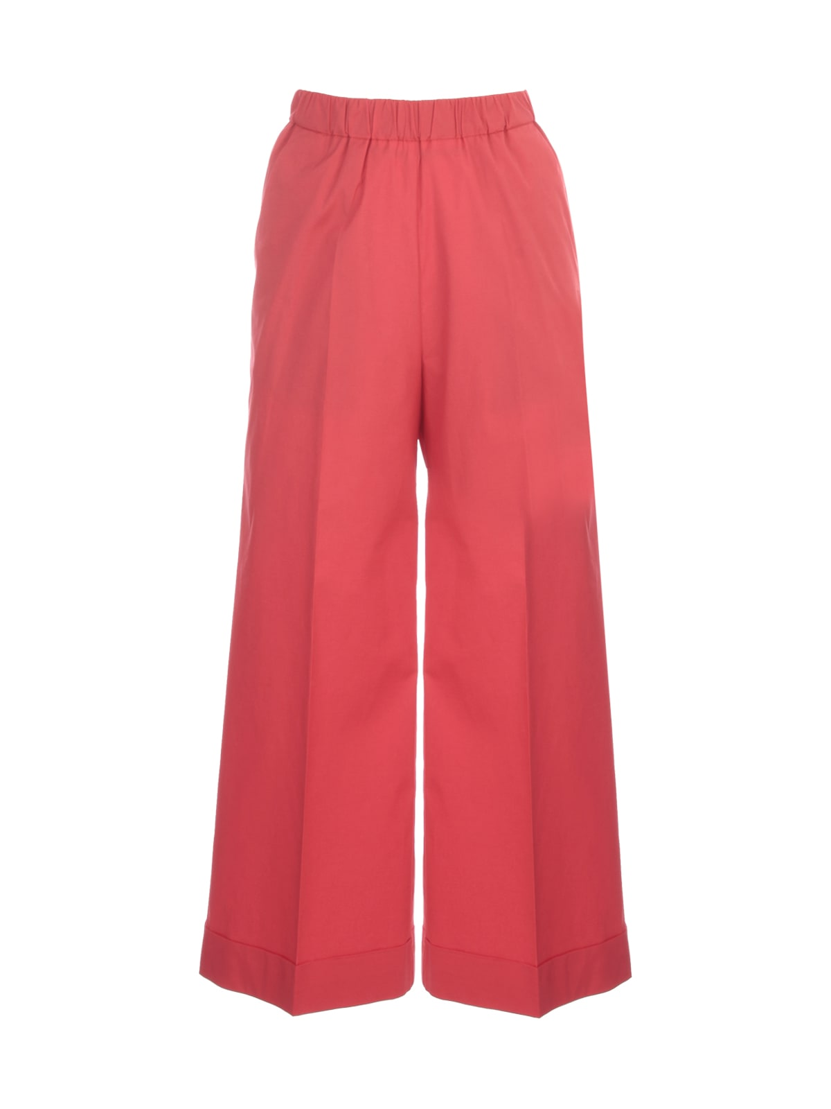 Cotton Stretch Straight Cropped Elastic Pants