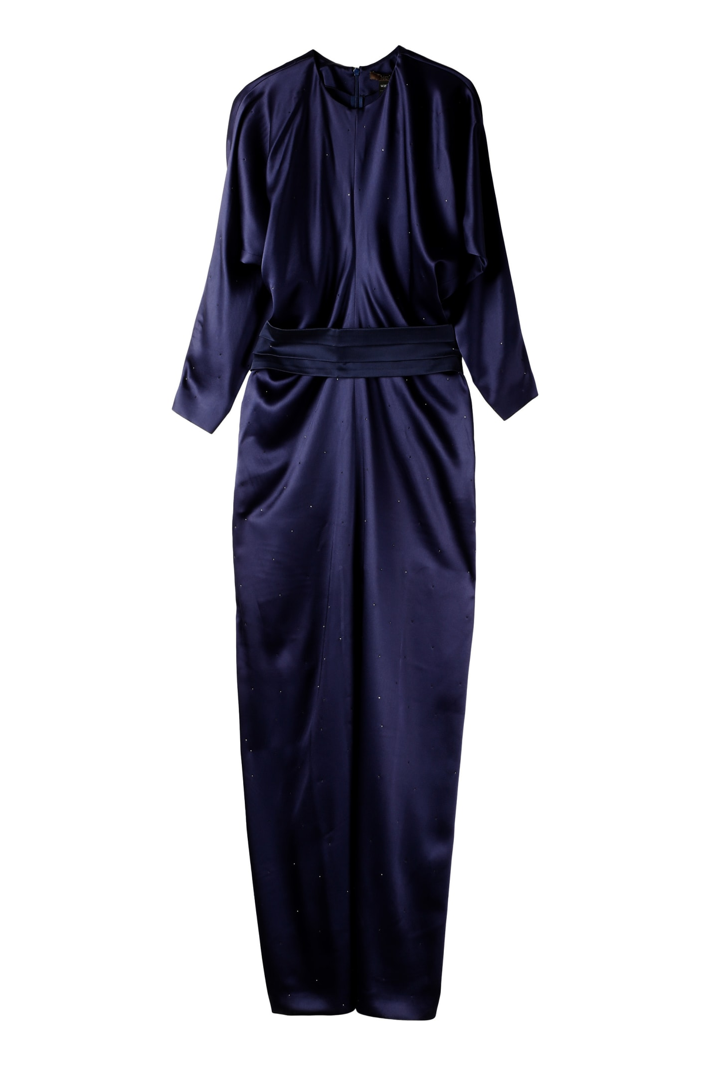 Max Mara Pagode Belted Matte Satin Dress