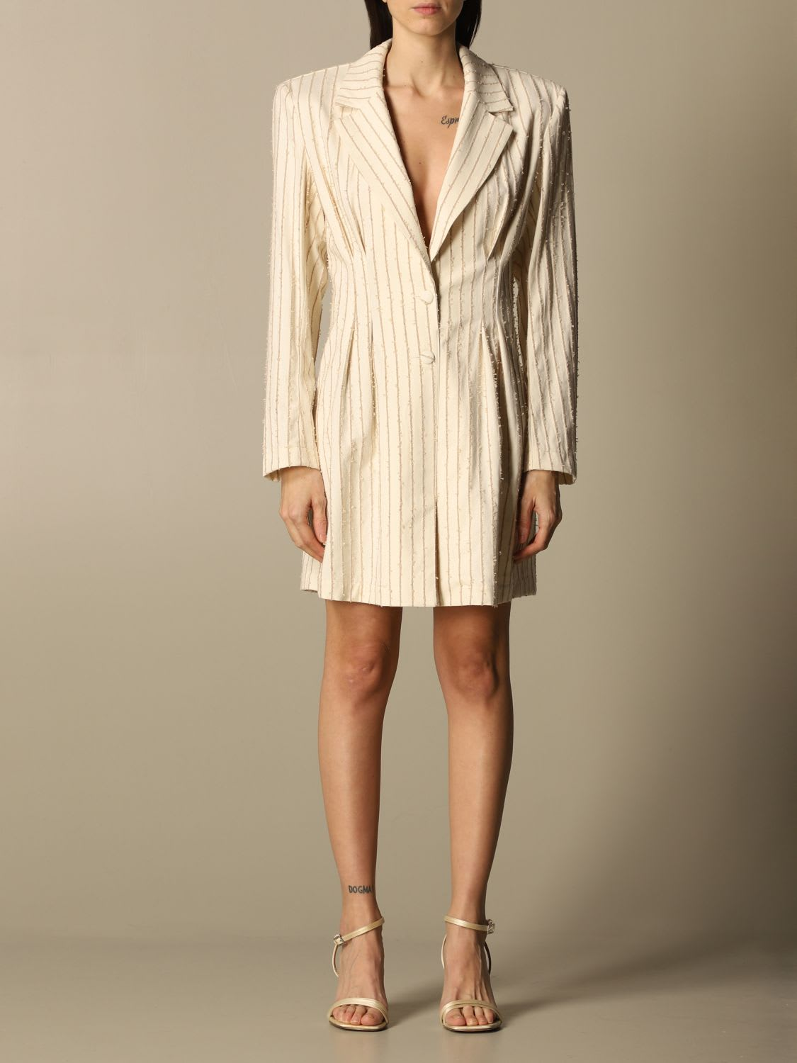 Buy Federica Tosi Dress Long Sleeve Pinstripe online, shop Federica Tosi with free shipping