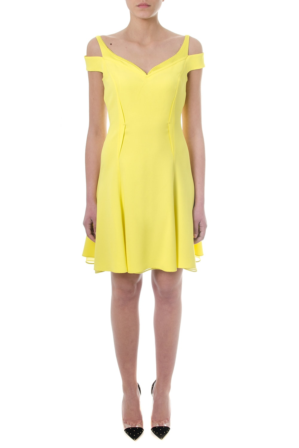 Buy Versace Off-shoulder Yellow Crepe Dress online, shop Versace with free shipping