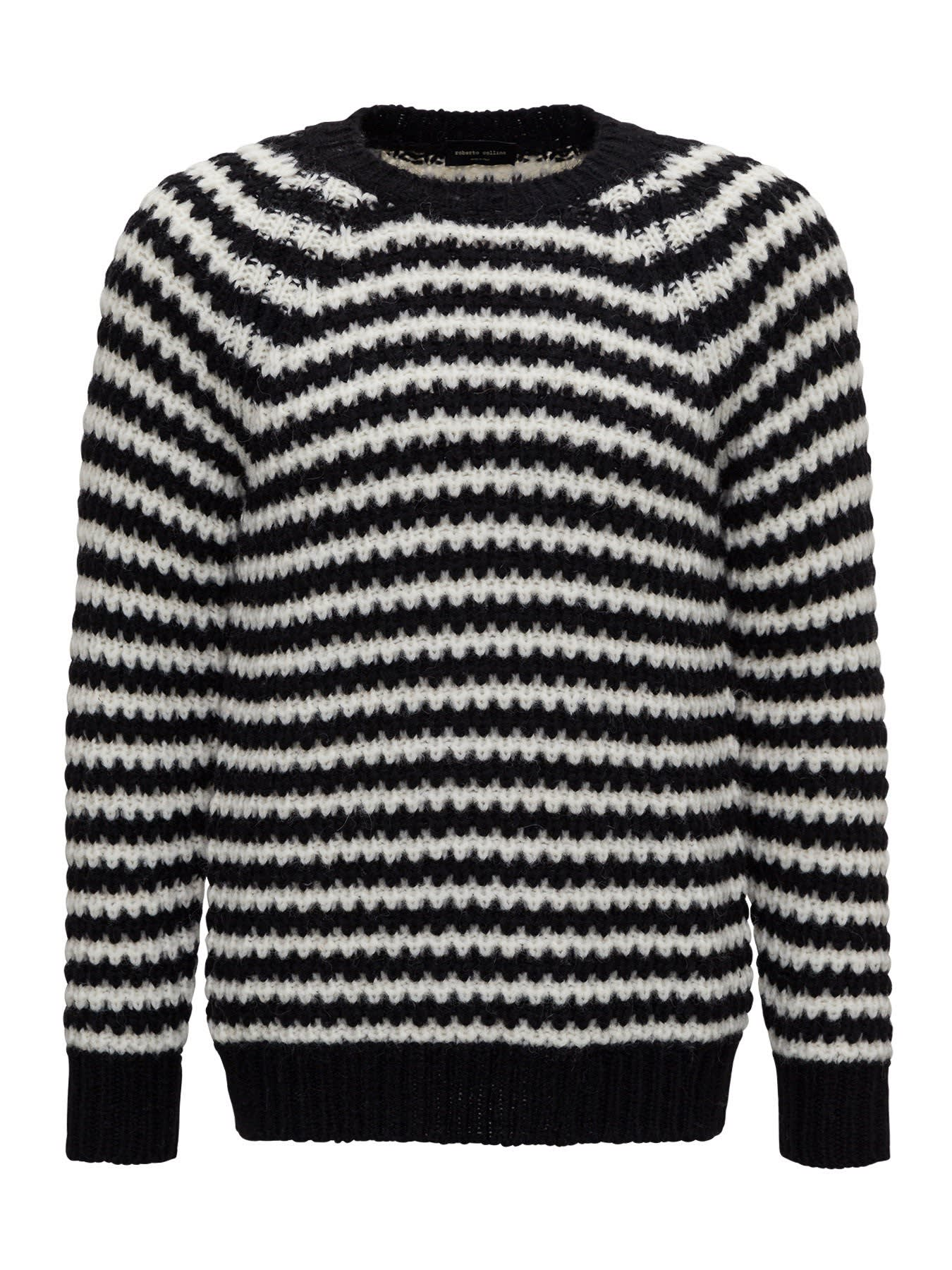 Roberto Collina Striped Sweater In Knitted Alpaca Blend