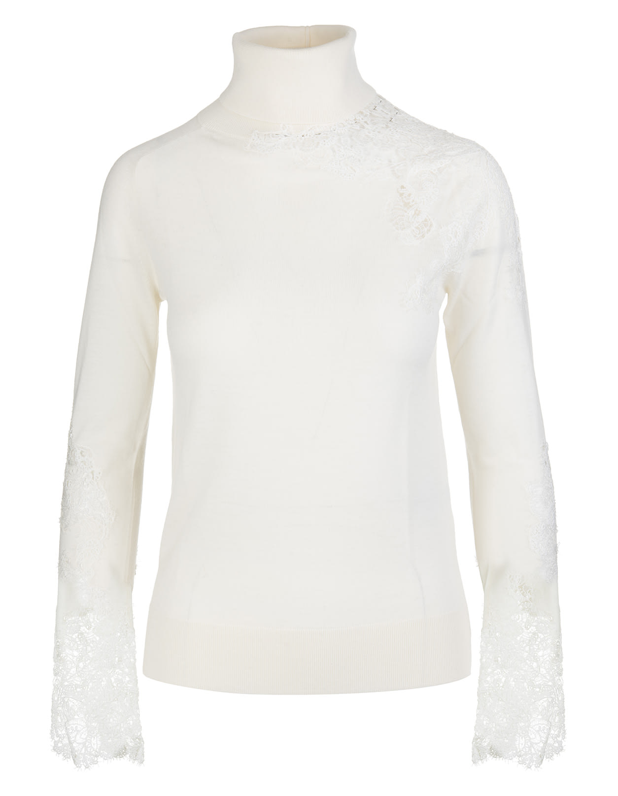White High Neck Sweater In Wool And Lace