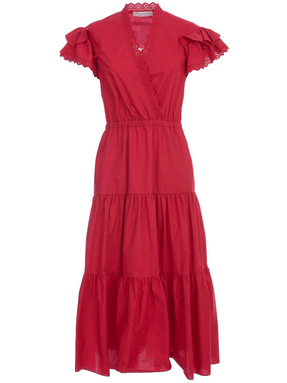 Buy Philosophy di Lorenzo Serafini Dress W/s V Neck W/flounce online, shop Philosophy di Lorenzo Serafini with free shipping