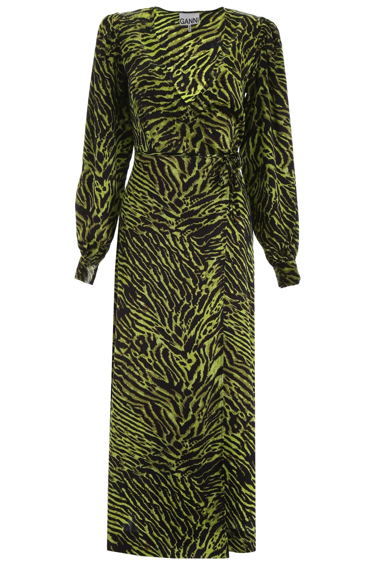 Buy Ganni Zebra-printed Wrap Dress online, shop Ganni with free shipping