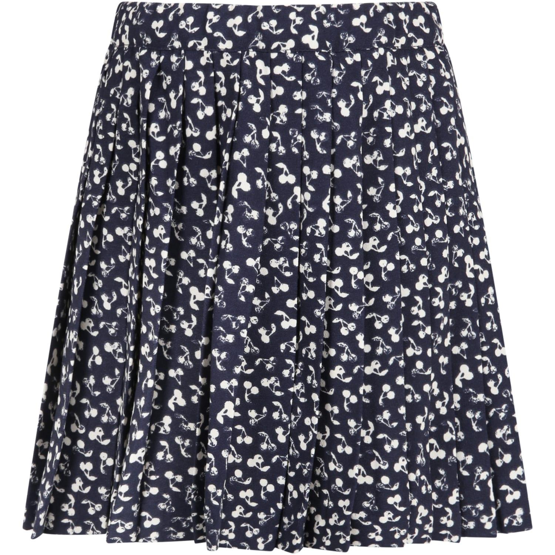 Blue Skirt For Girl With Cherries