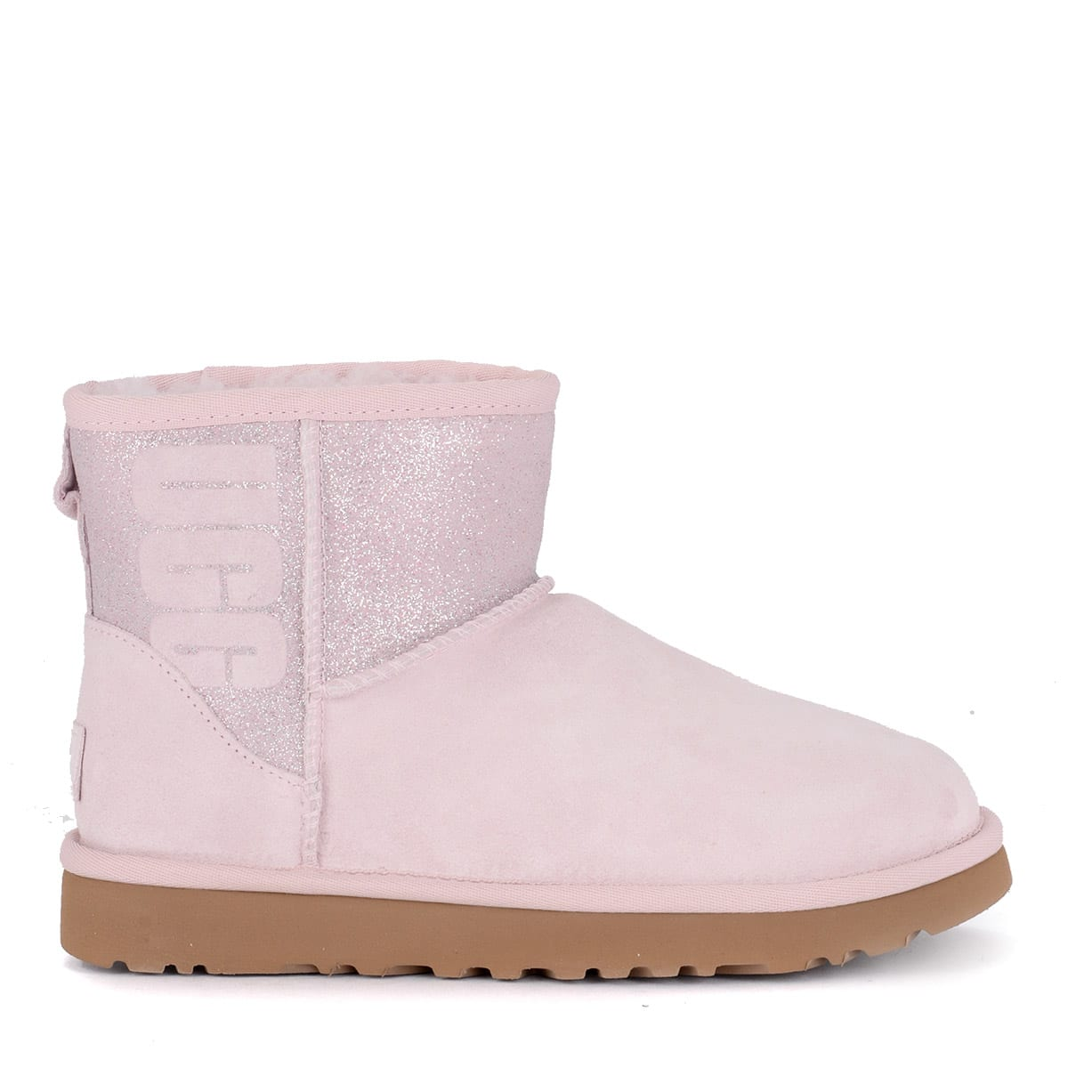 890f30247ec Ugg Classic Mini Logo Sparkle Pink Suede And Glitter Ankle Boots