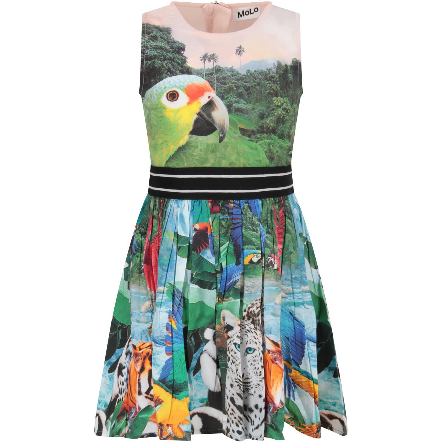Buy Molo Multicolor Girl Dress With Colorful Parrots online, shop Molo with free shipping