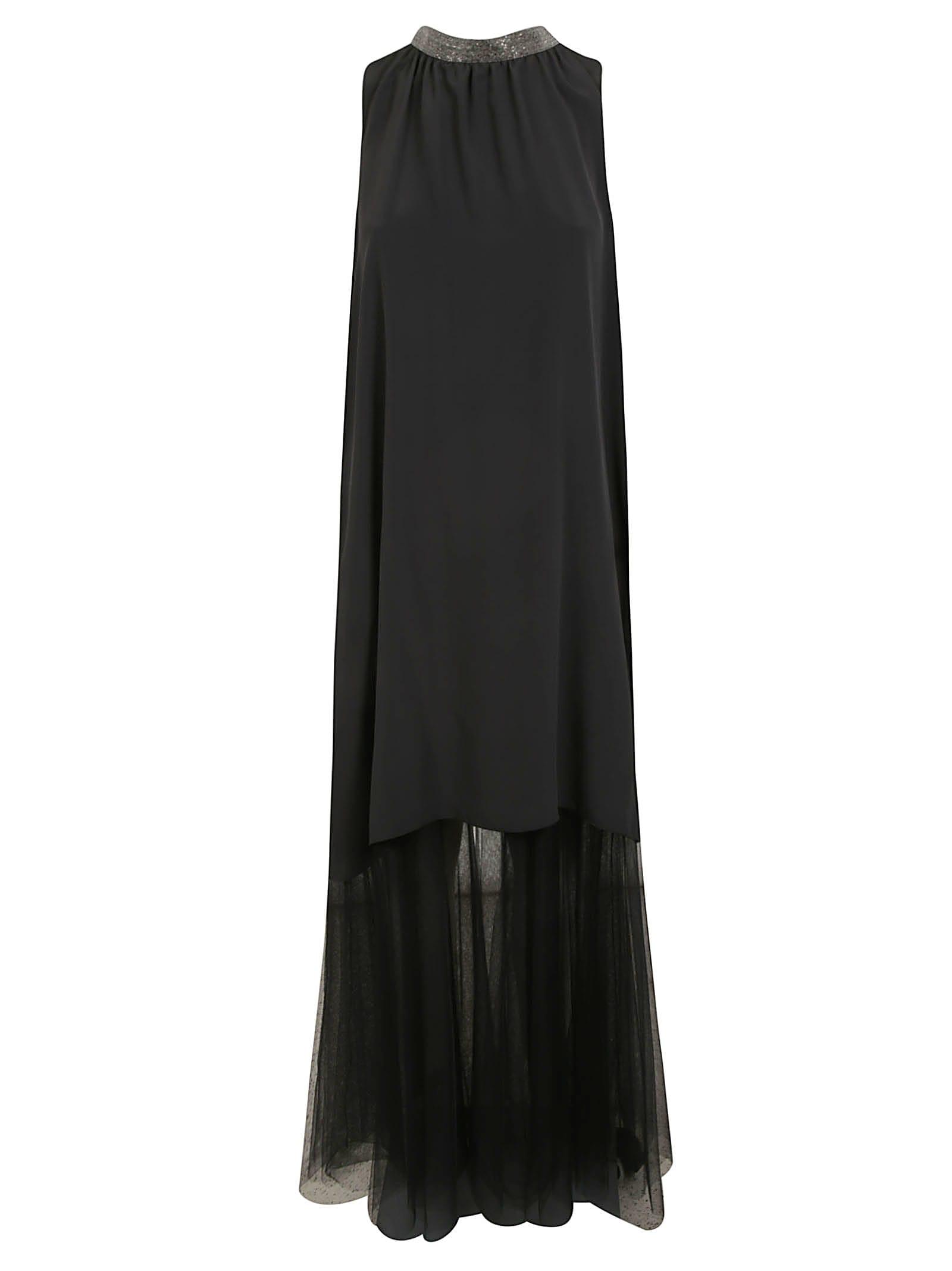Buy Fabiana Filippi Sleeveless Long Fringed Dress online, shop Fabiana Filippi with free shipping