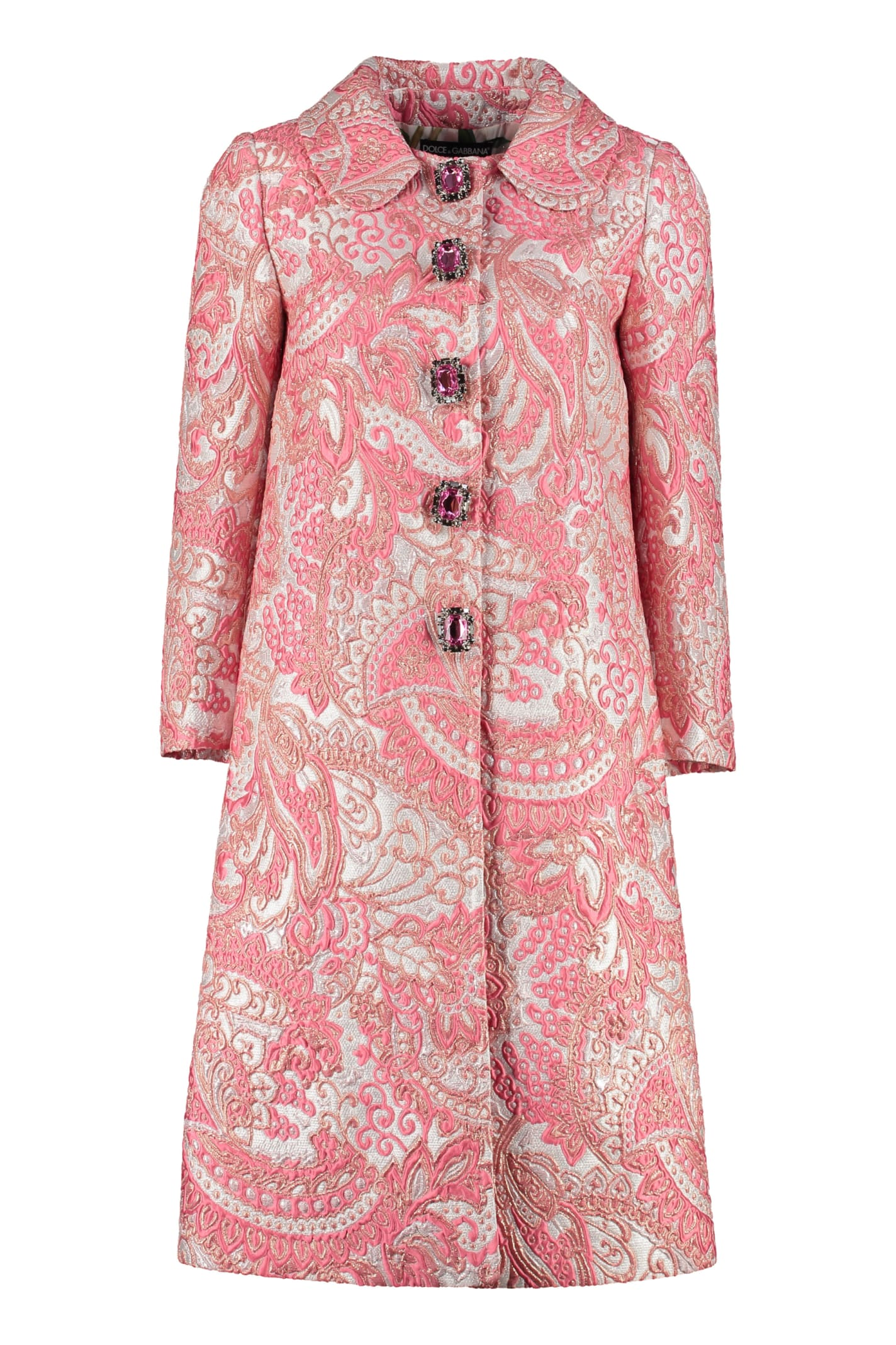 Dolce & Gabbana Lamé Jacquard Coat With Embellished Buttons