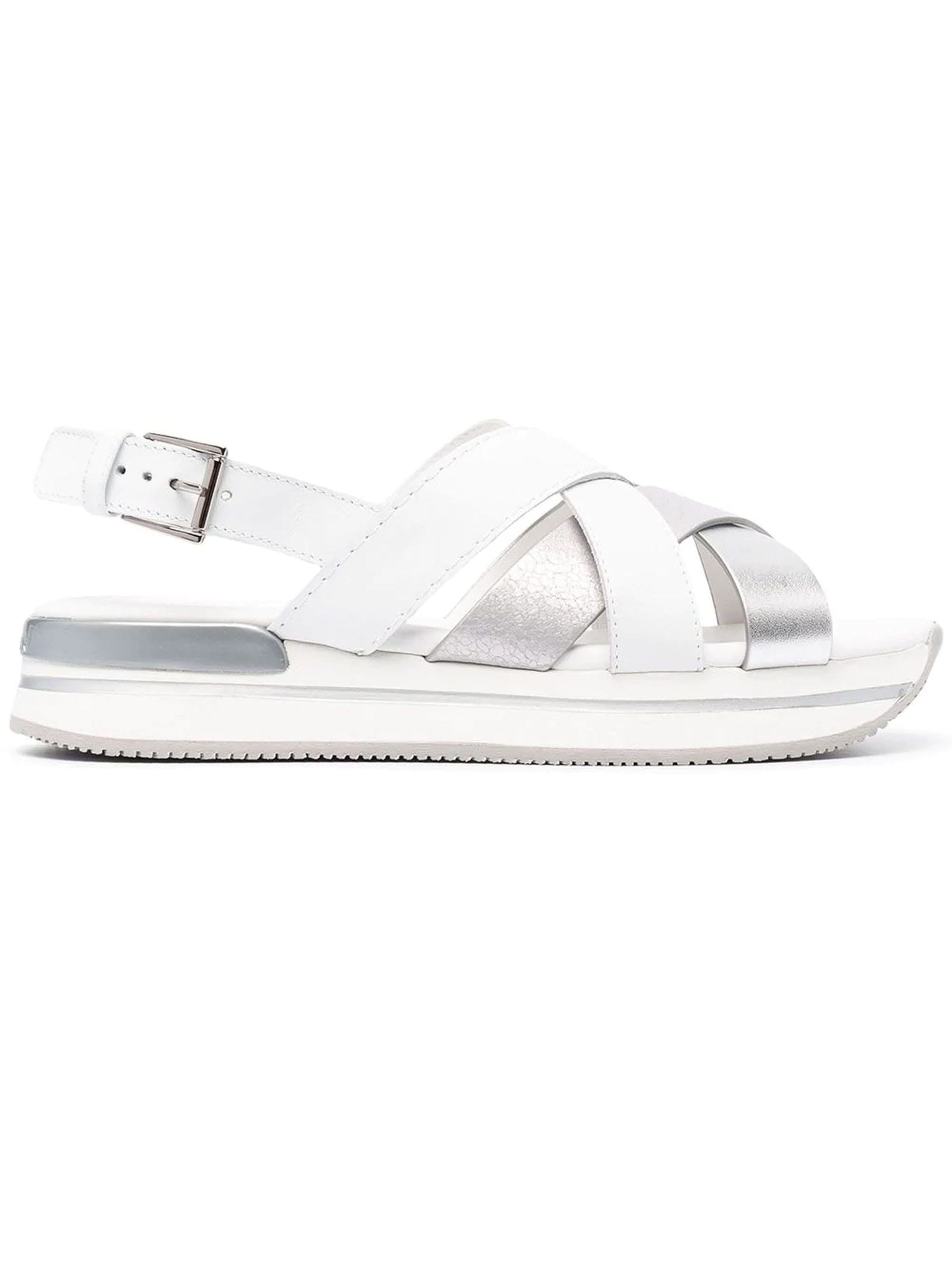 Hogan Leathers H222 CROSSED SANDALS WHITE, SILVER
