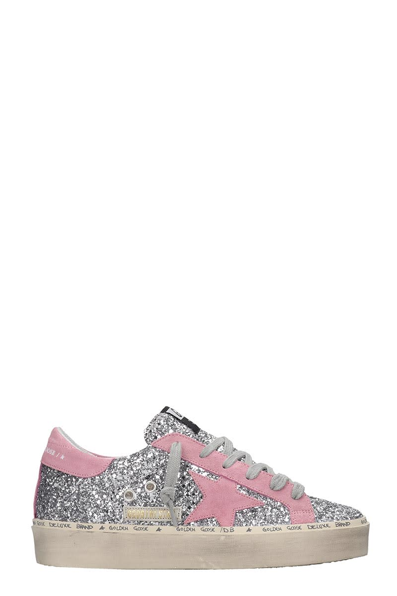 Hi Star Sneakers in silver glitter, suede detail, laces, logo on side, rubber outsoleComposition: Glitter
