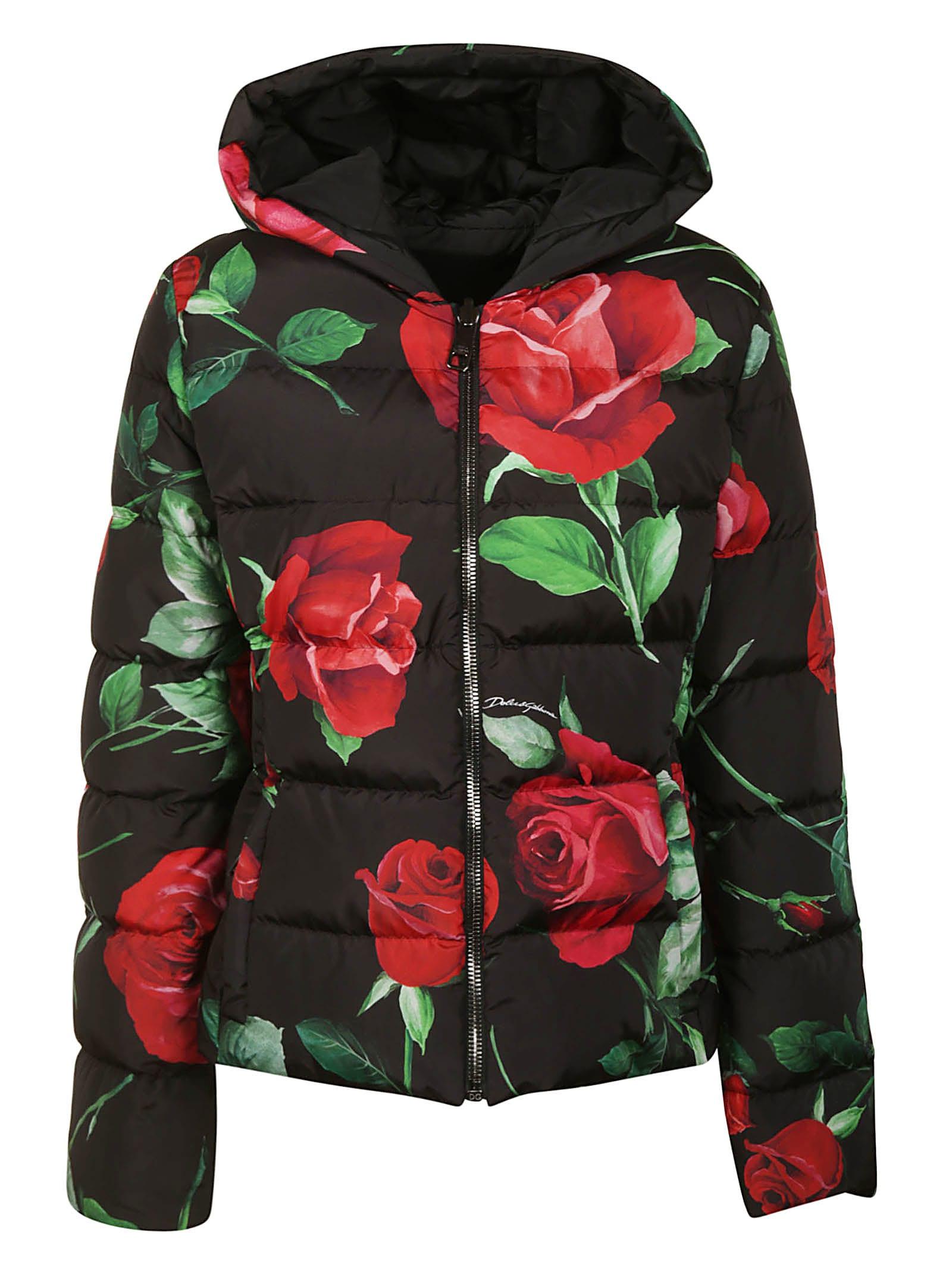 Dolce & Gabbana Rose Print Padded Jacket
