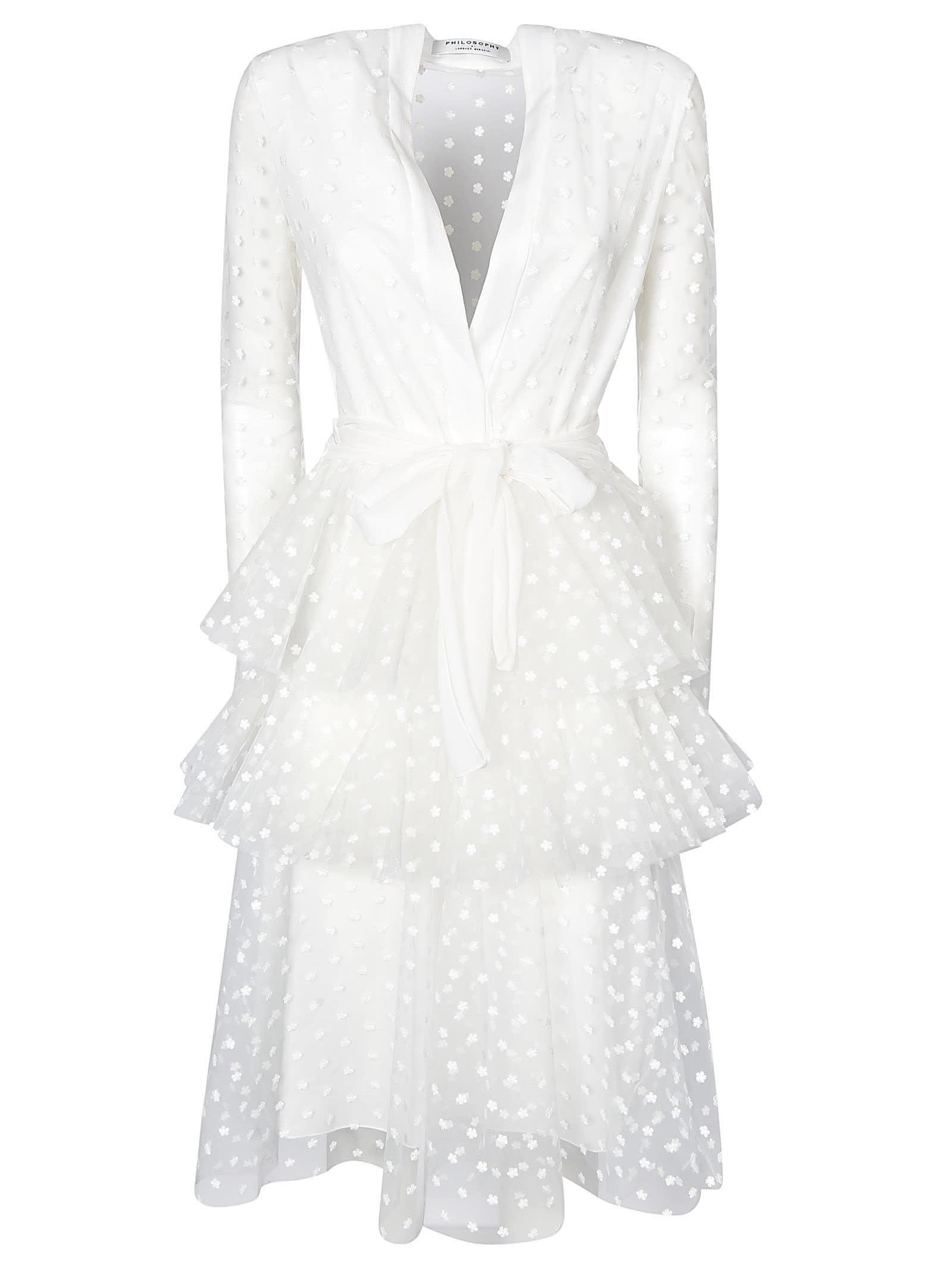 Buy Philosophy di Lorenzo Serafini V-neck Dotted Motif Dress online, shop Philosophy di Lorenzo Serafini with free shipping
