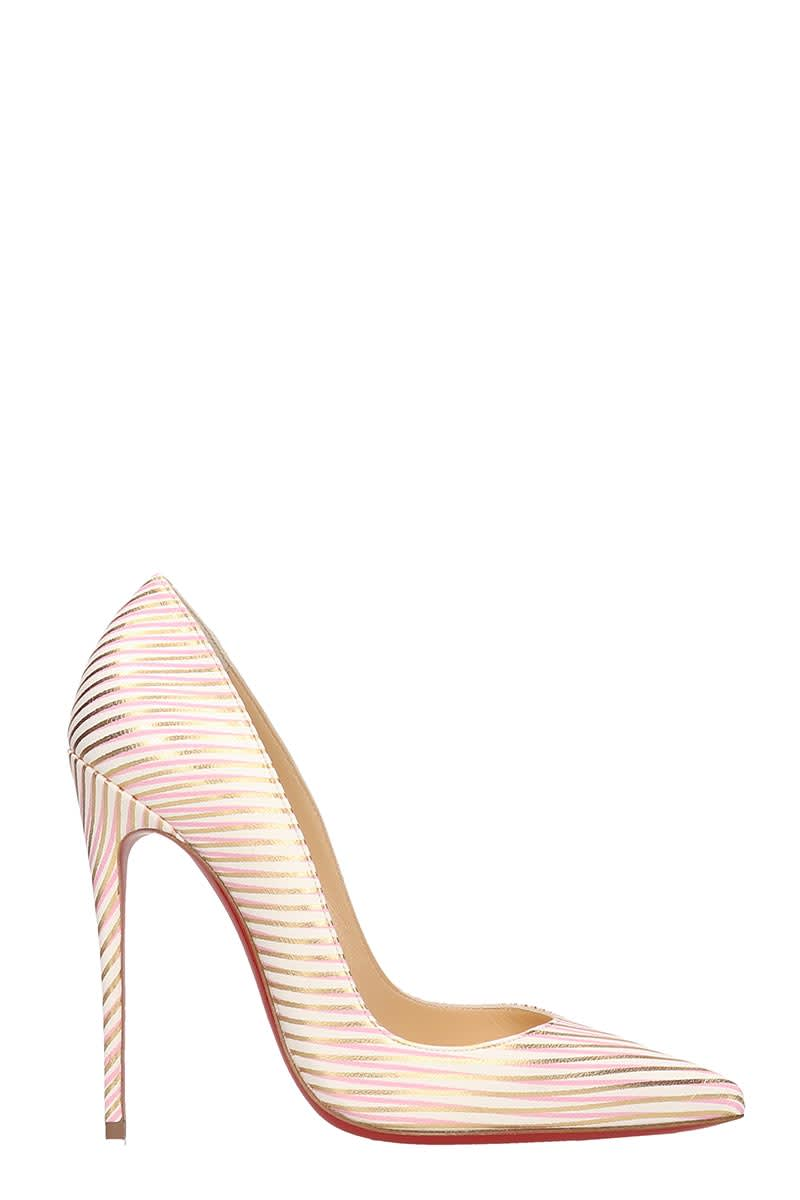 best sneakers 1d3f4 54ec7 Christian Louboutin So Kate 120 White Red Gold Leather Pumps