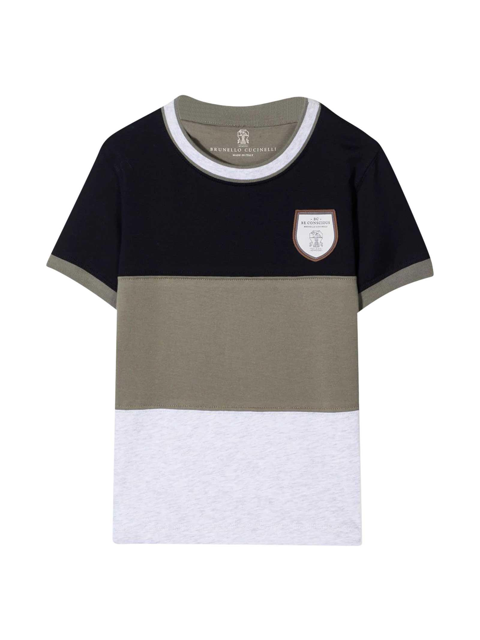 Brunello Cucinelli T-shirts MULTICOLORED T-SHIRT TEEN