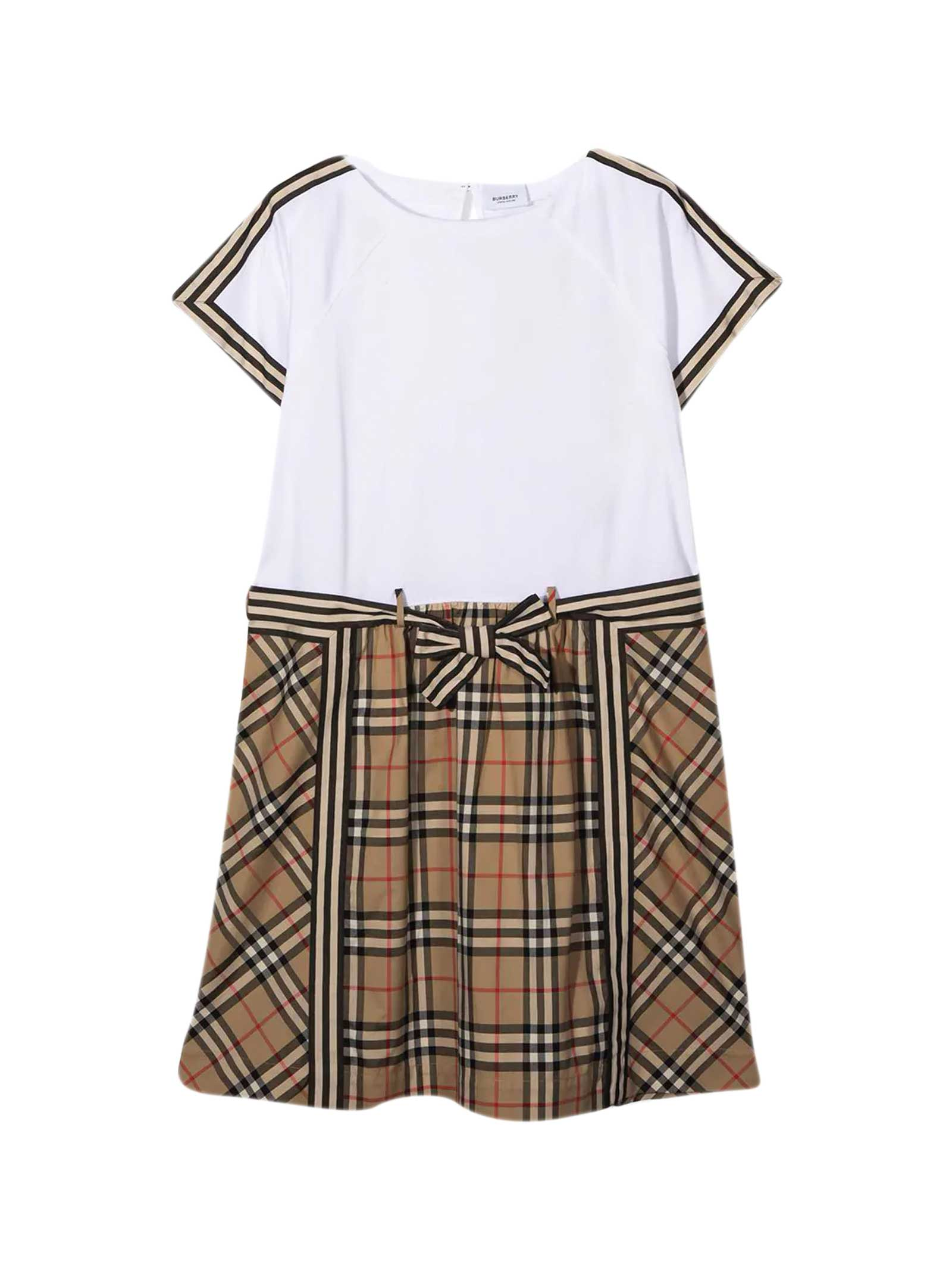 Burberry White Teen Dress In Beige