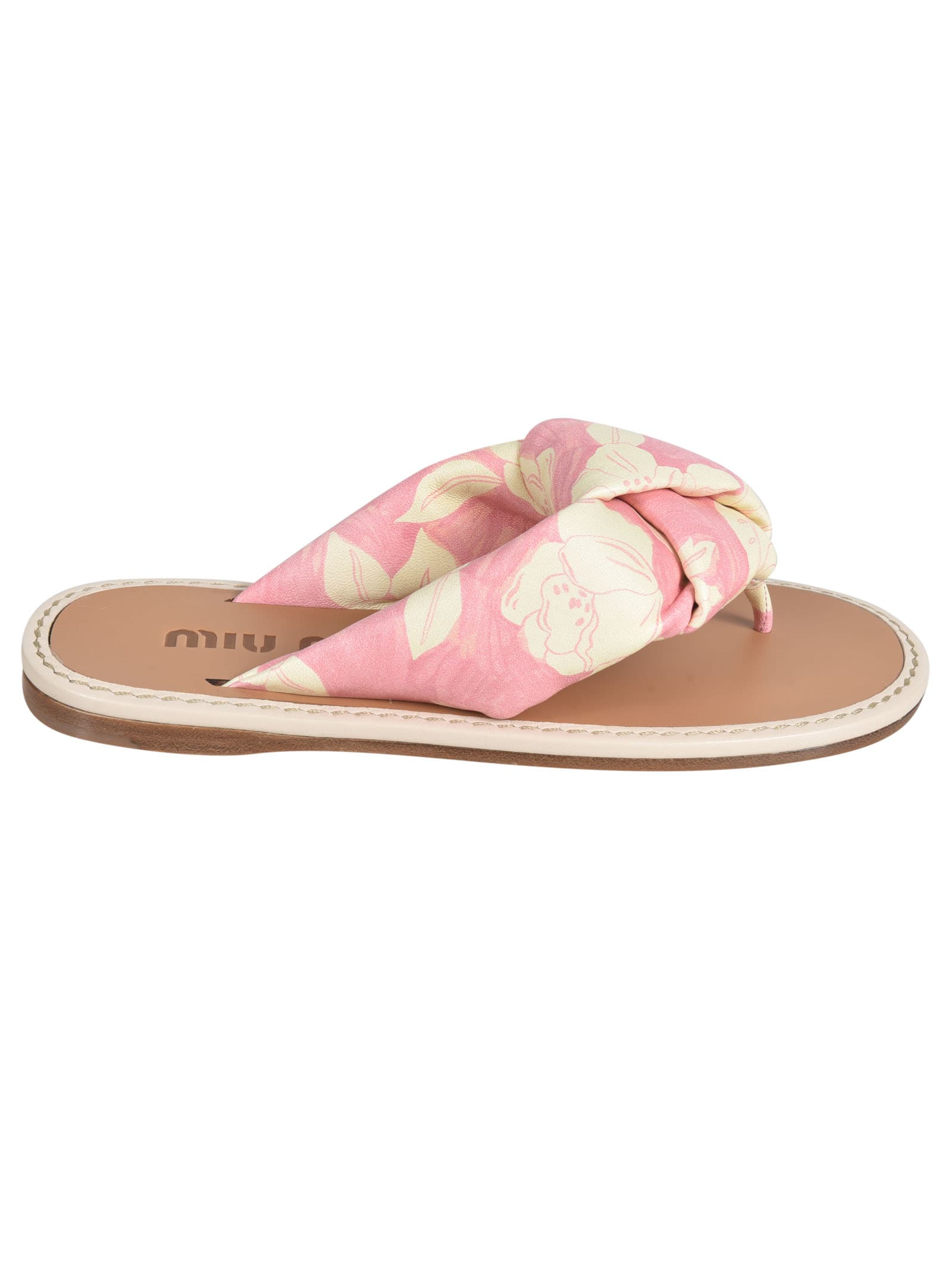 Buy Miu Miu Floral Printed Flip Flops online, shop Miu Miu shoes with free shipping