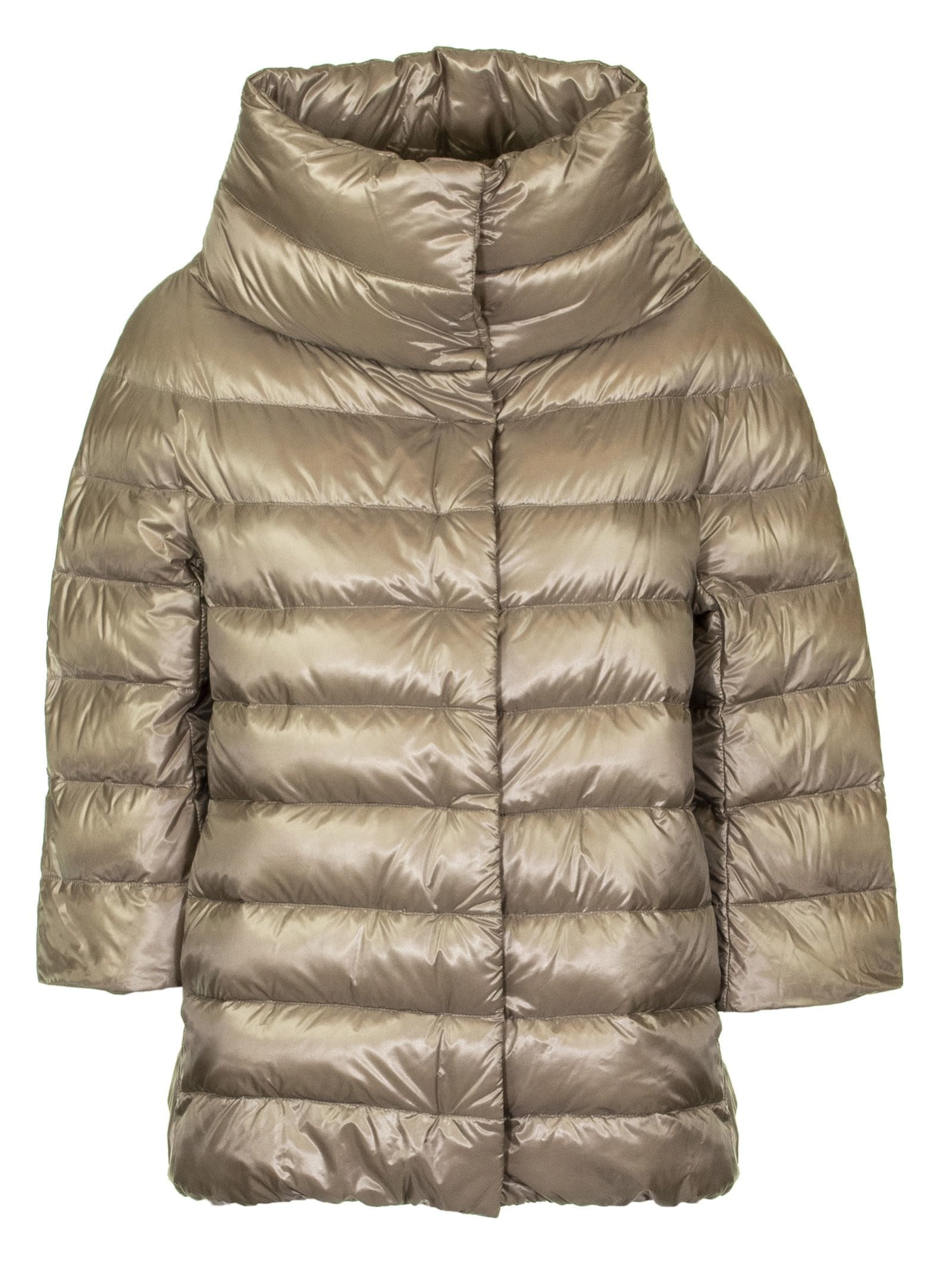 Herno Down Jacket With High Neck And Three-four Sleeves