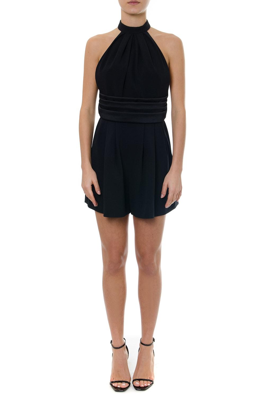 Saint Laurent Short Black Jumpsuit In Crepe
