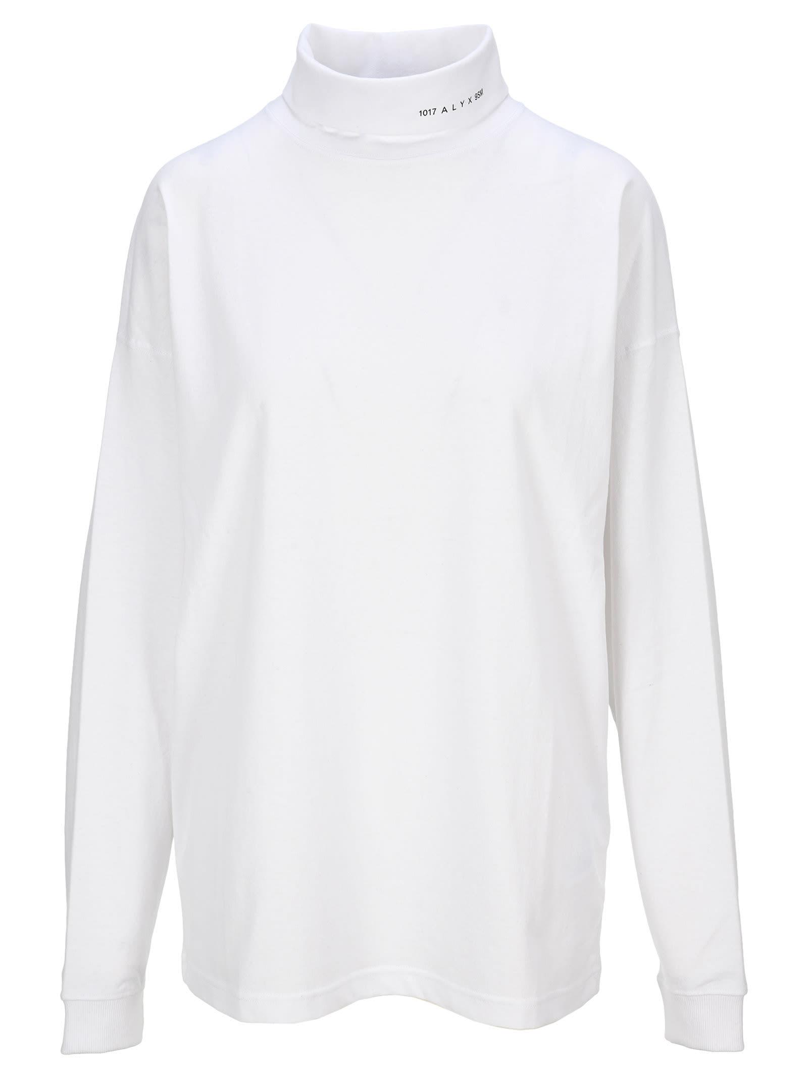 Alyx Logo-print Roll Neck Sweatshirt In White