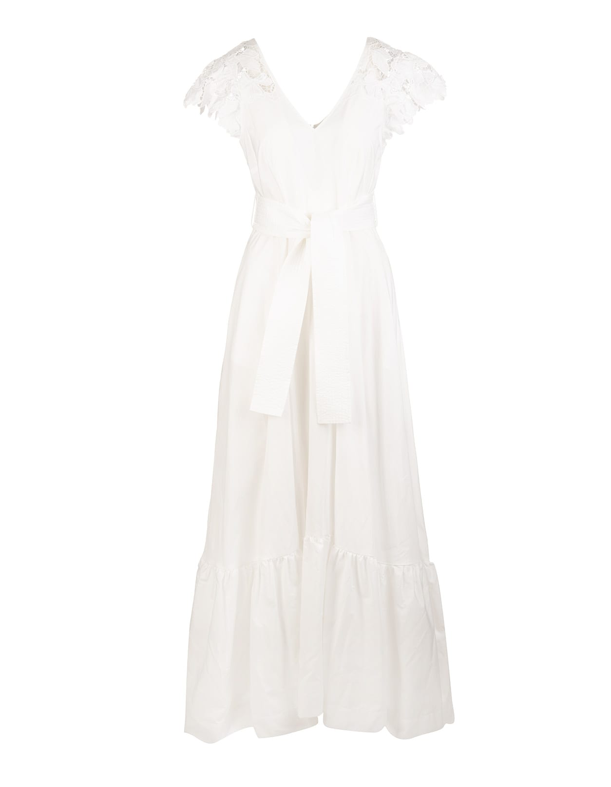 A.R.O.H. long dress in white cotton with front and back V-neck, short wide sleeve in lace (circular cap), soft skirt with horizontal bands, back zip closure and waist highlighted by a belt in tone with front knot. Composition: 100% Cotton