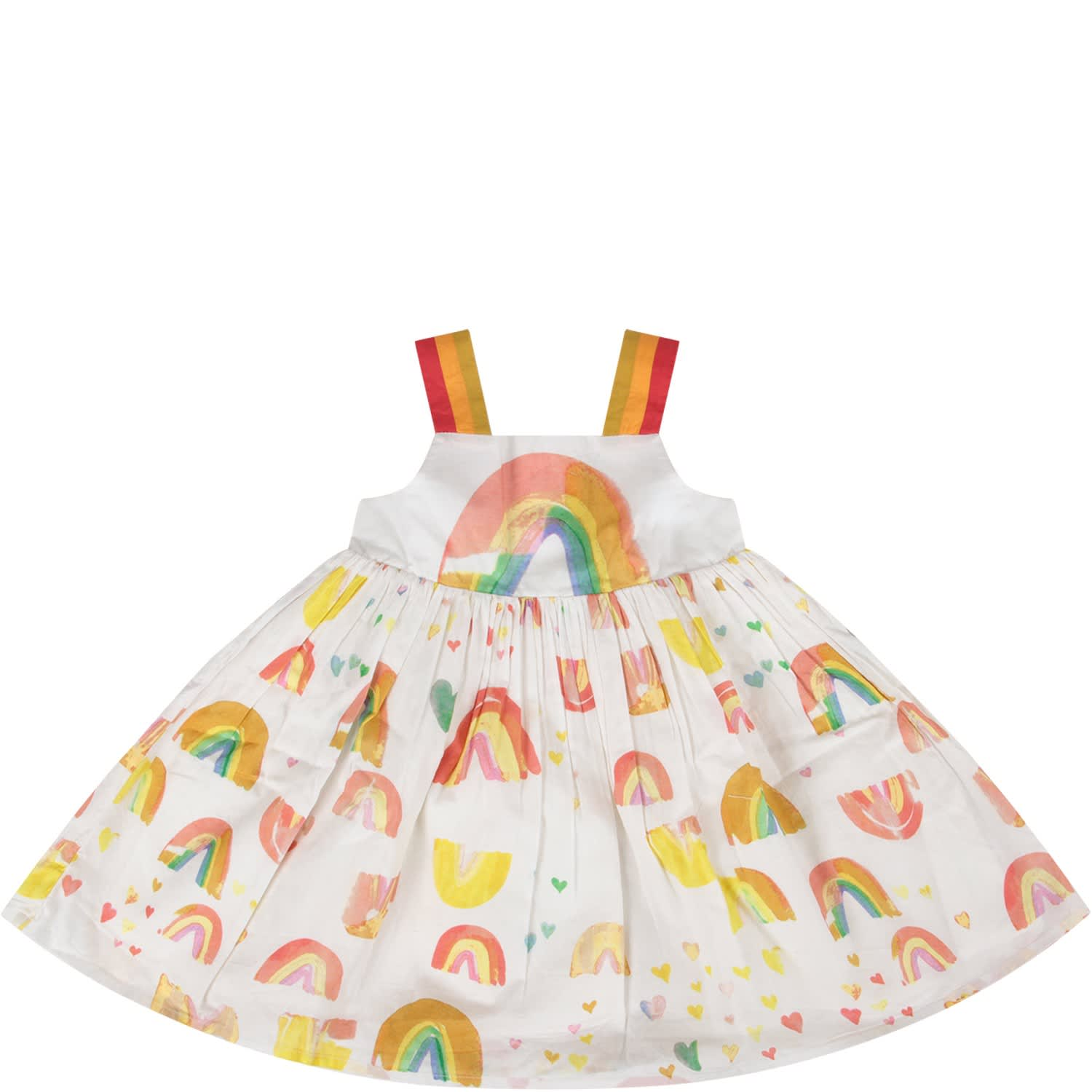 Buy Stella McCartney Kids White Dress With Rainbow And Hearts For Baby Girl online, shop Stella McCartney Kids with free shipping