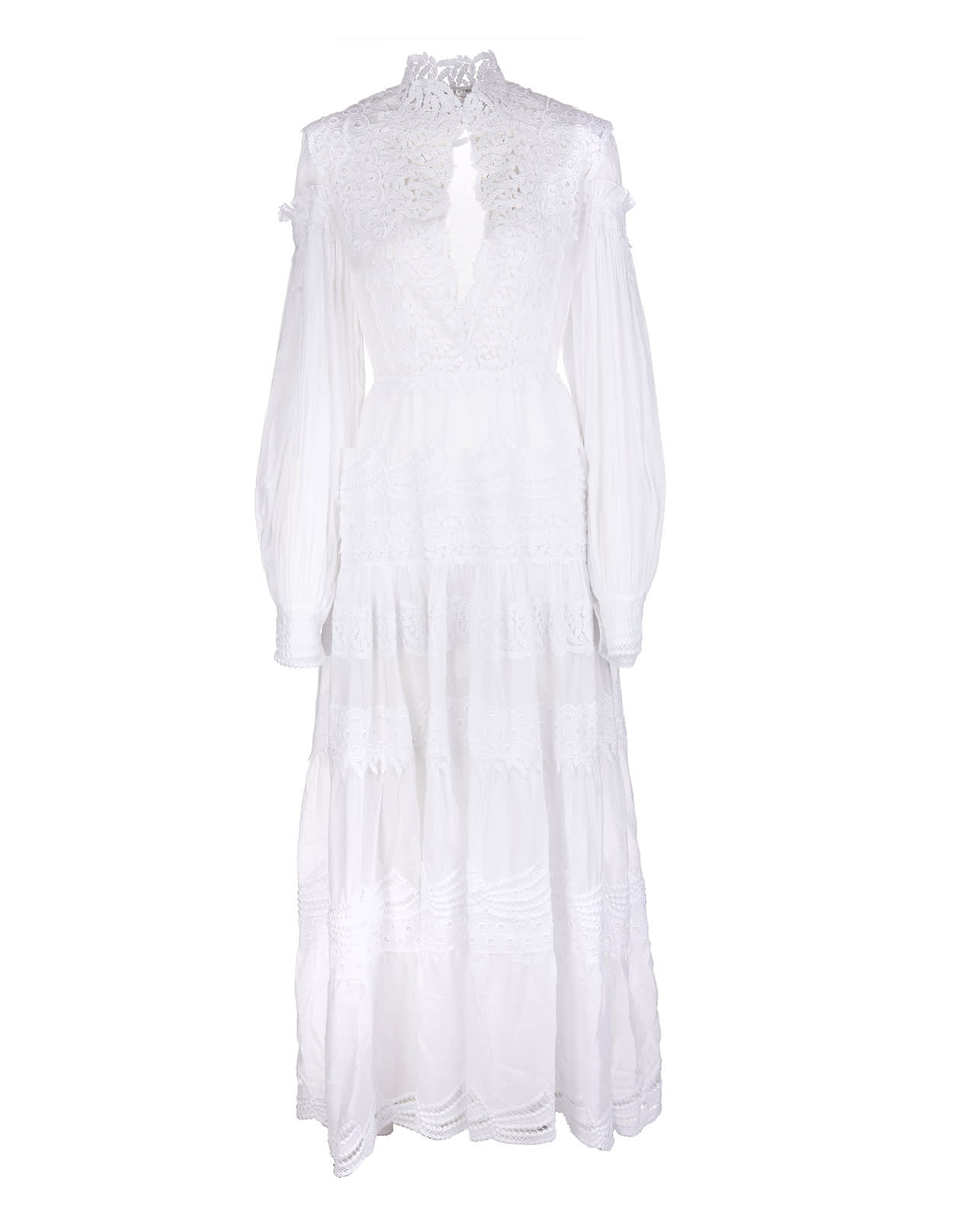 Ermanno Scervino White Long Dress With Patchwork Of Sangallo And Macrame Laces