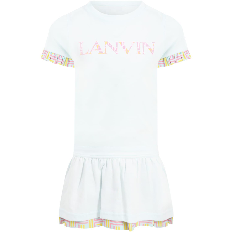 Lanvin LIGHT BLUE DRESS FOR GIRL WITH LOGO