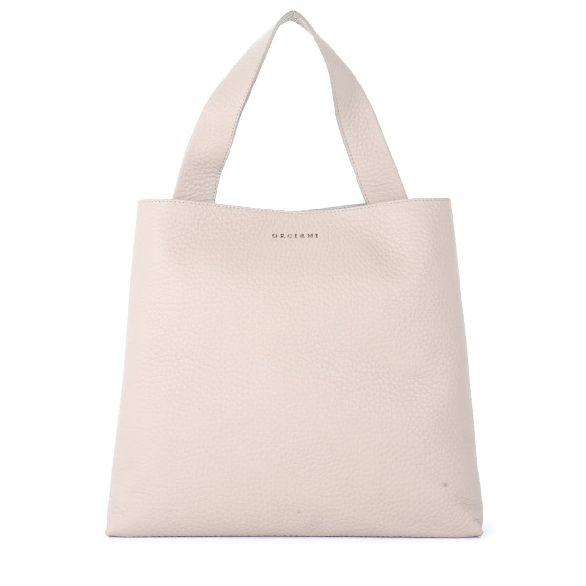 Orciani Jackie Shoulder Bag In Dove Gray Grained Leather