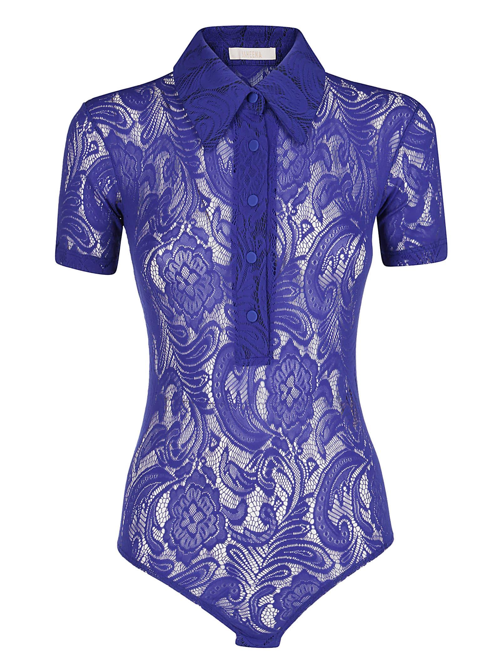 SSHEENA Electric Blue Lace Bodysuit