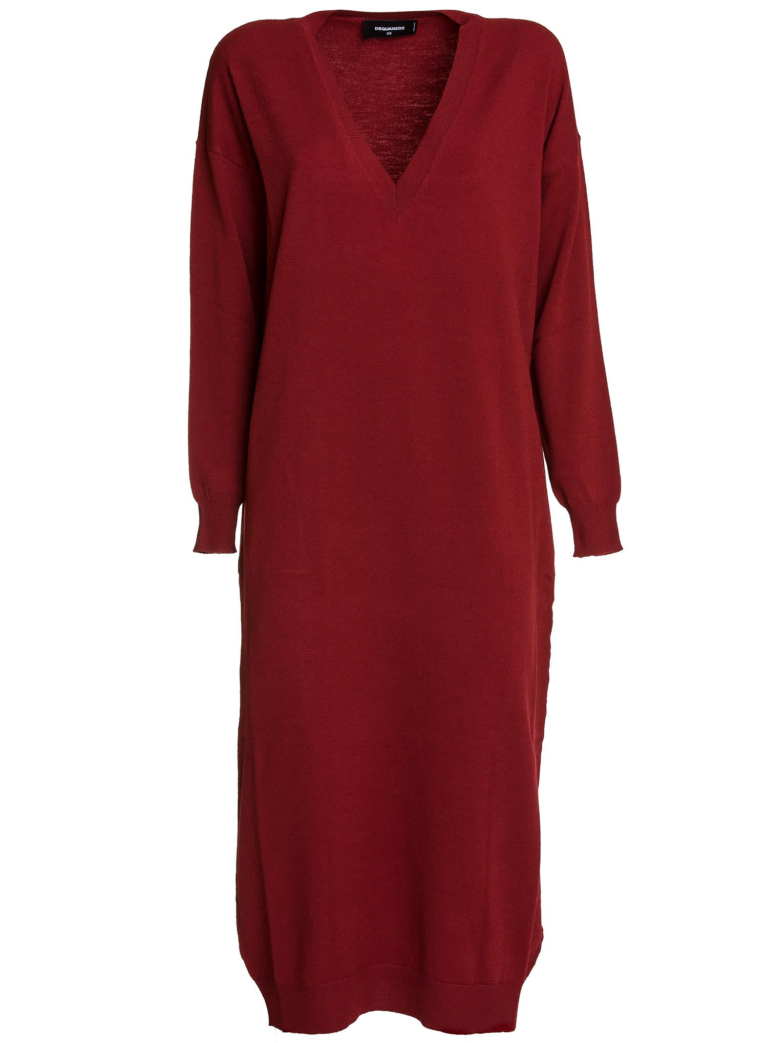 Buy Dsquared2 Deep V-neck Sweater Dress online, shop Dsquared2 with free shipping
