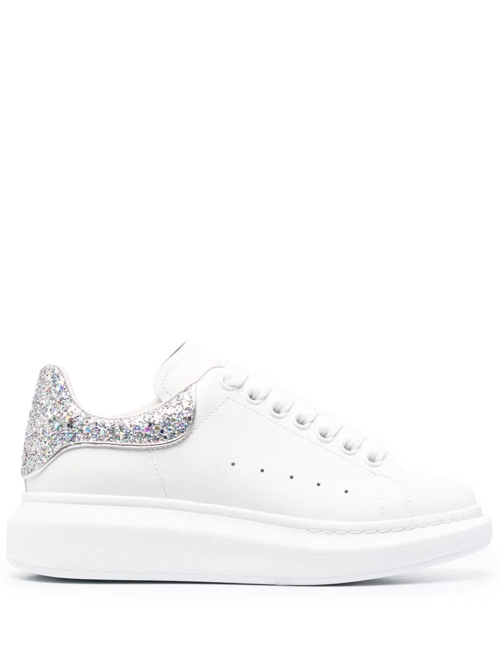 Alexander McQueen Woman White Oversize Sneakers With Silver Glitter Spoiler