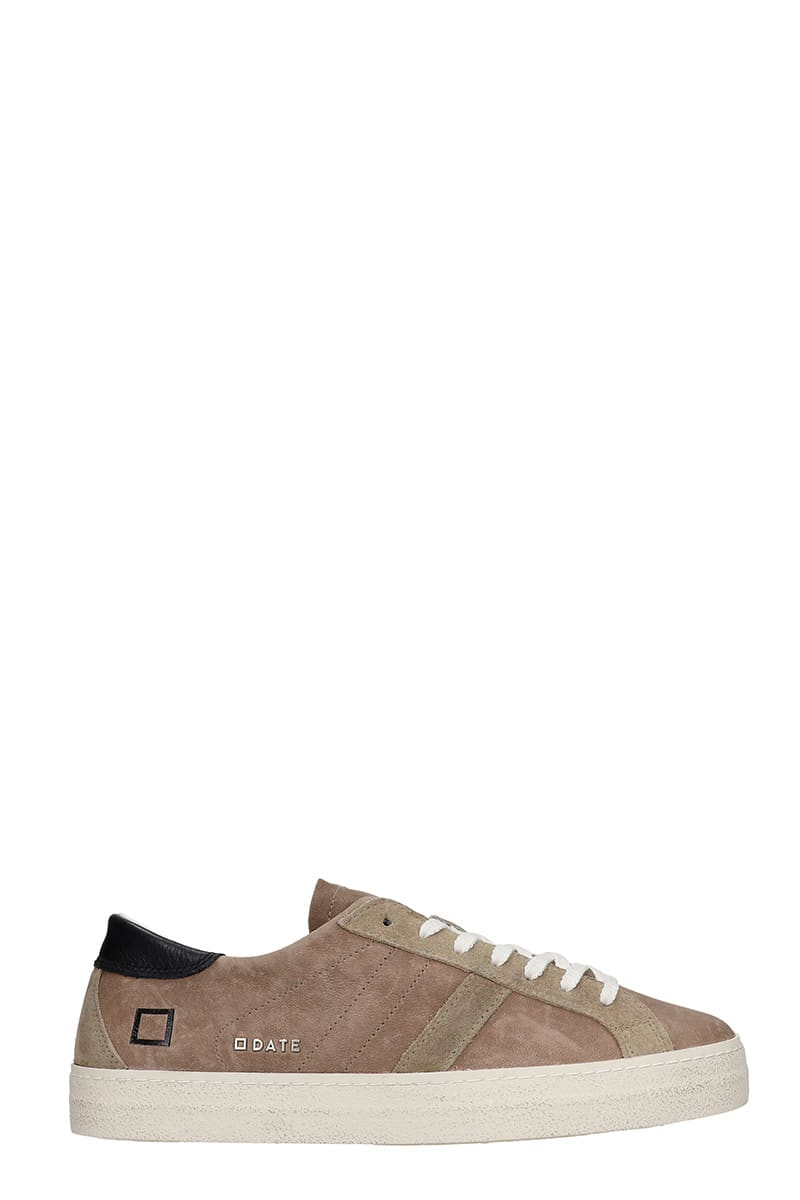 D.A.T.E. Hill Low Sneakers In Taupe Suede And Leather