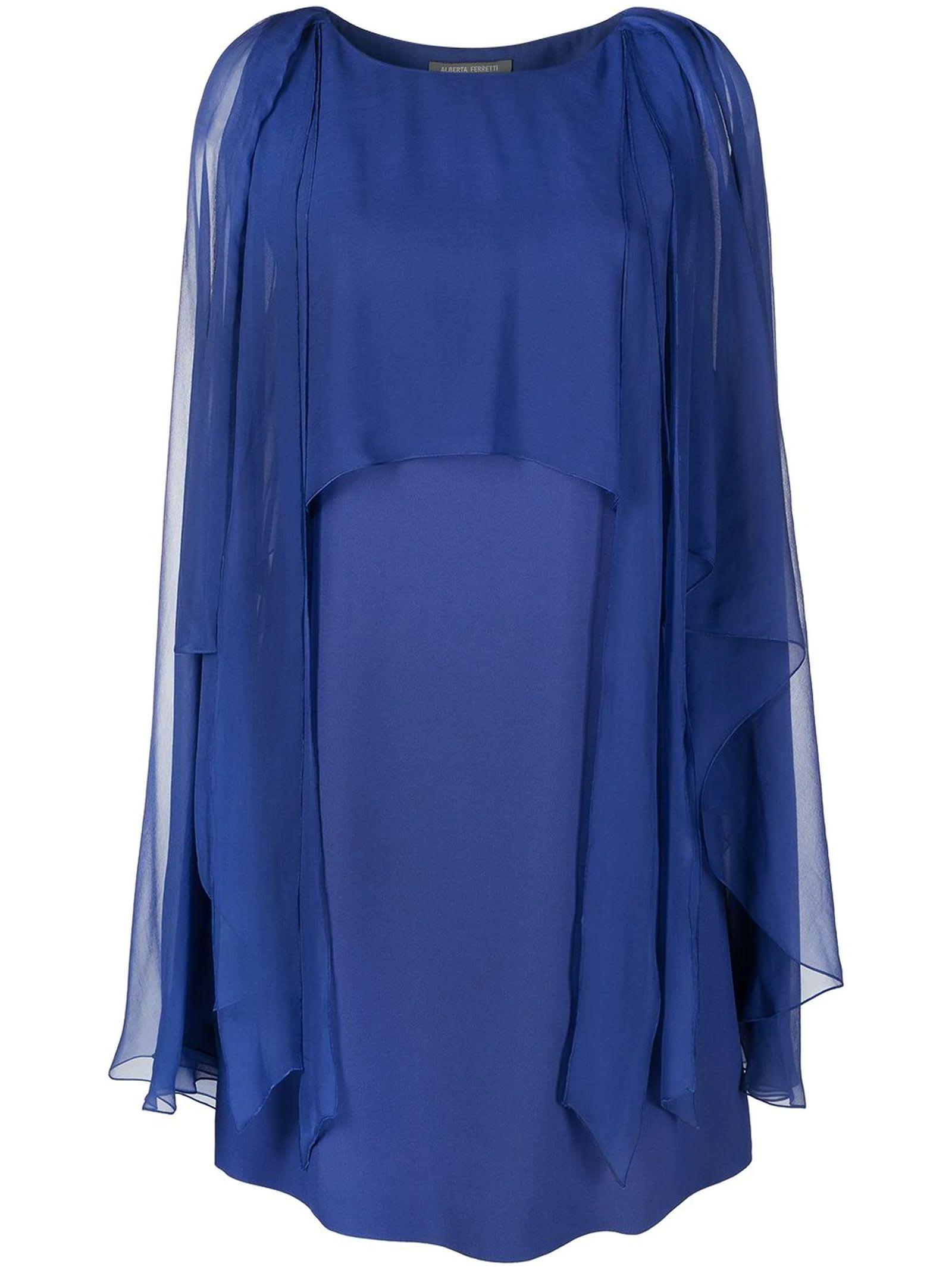 Alberta Ferretti Royal Blue Tulle Layer Midi Dress