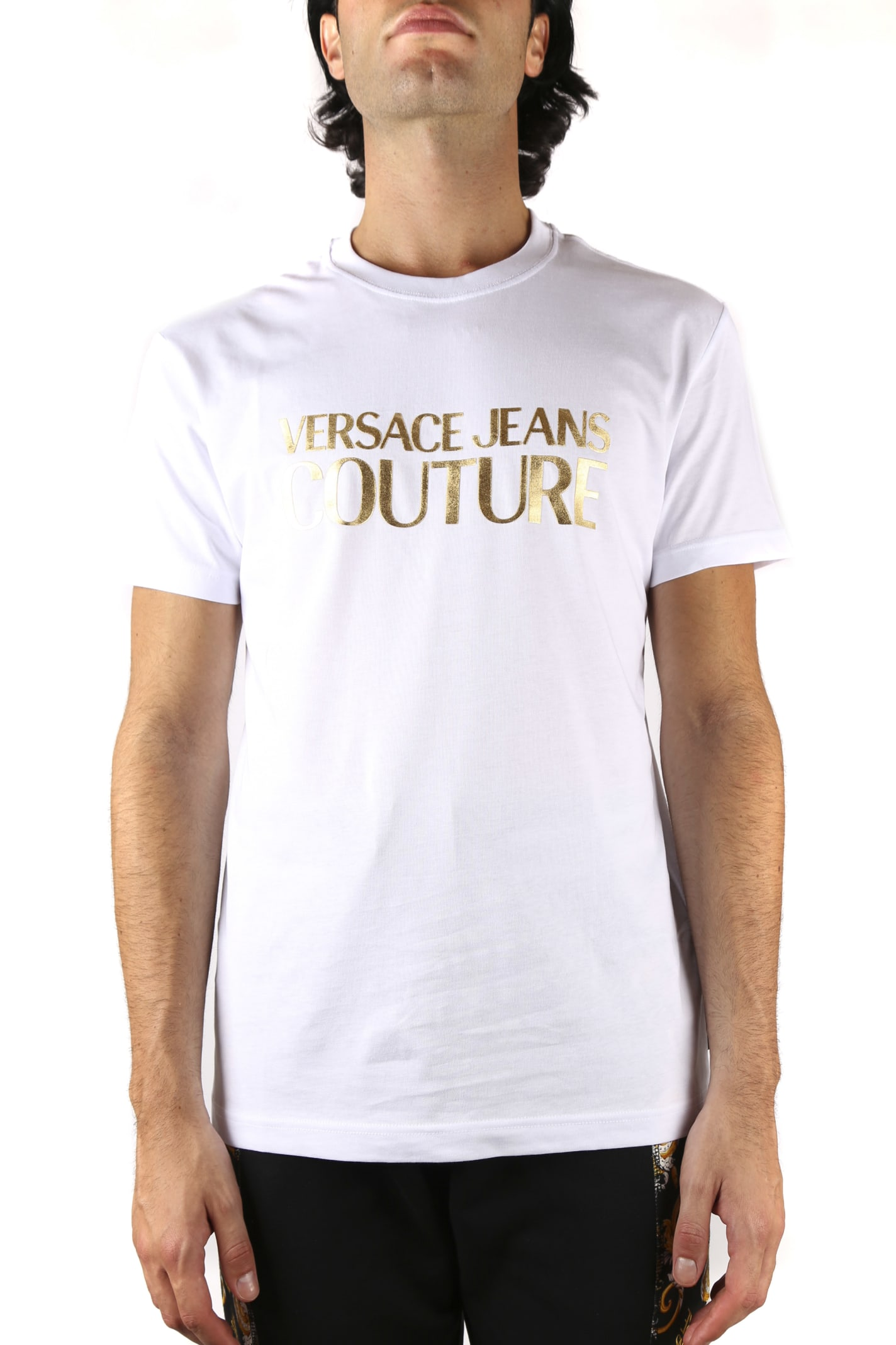 Versace Jeans Couture White Cotton T-shirt With Metallic Gold Logo
