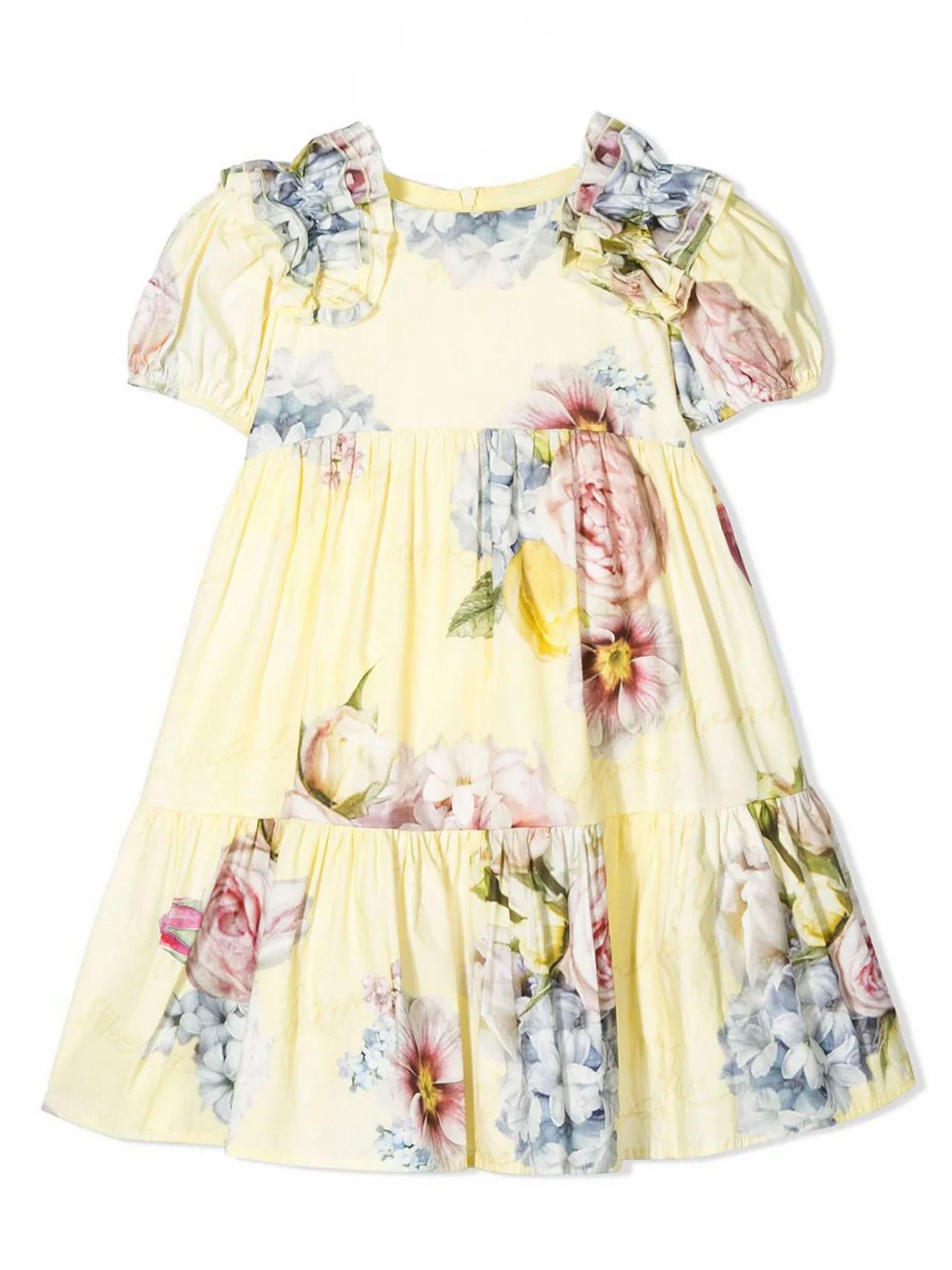Buy Monnalisa Light Yellow Cotton Dress online, shop Monnalisa with free shipping