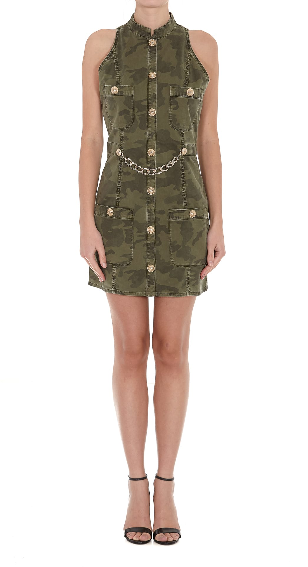 Buy Balmain Camouflage Denim Dress online, shop Balmain with free shipping