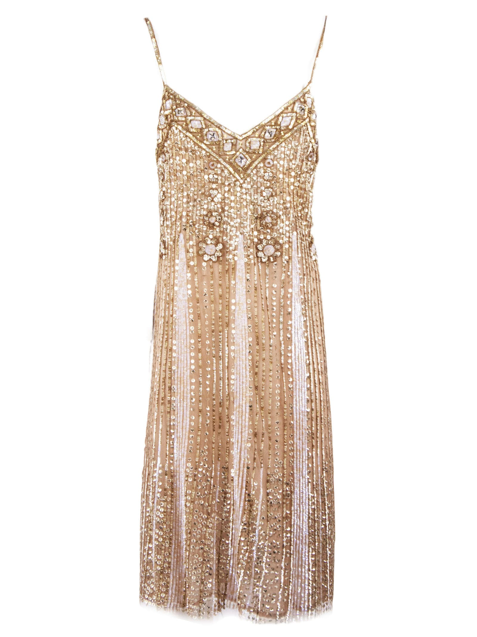 Buy Blumarine Slip Dress Sequined Embroidery online, shop Blumarine with free shipping