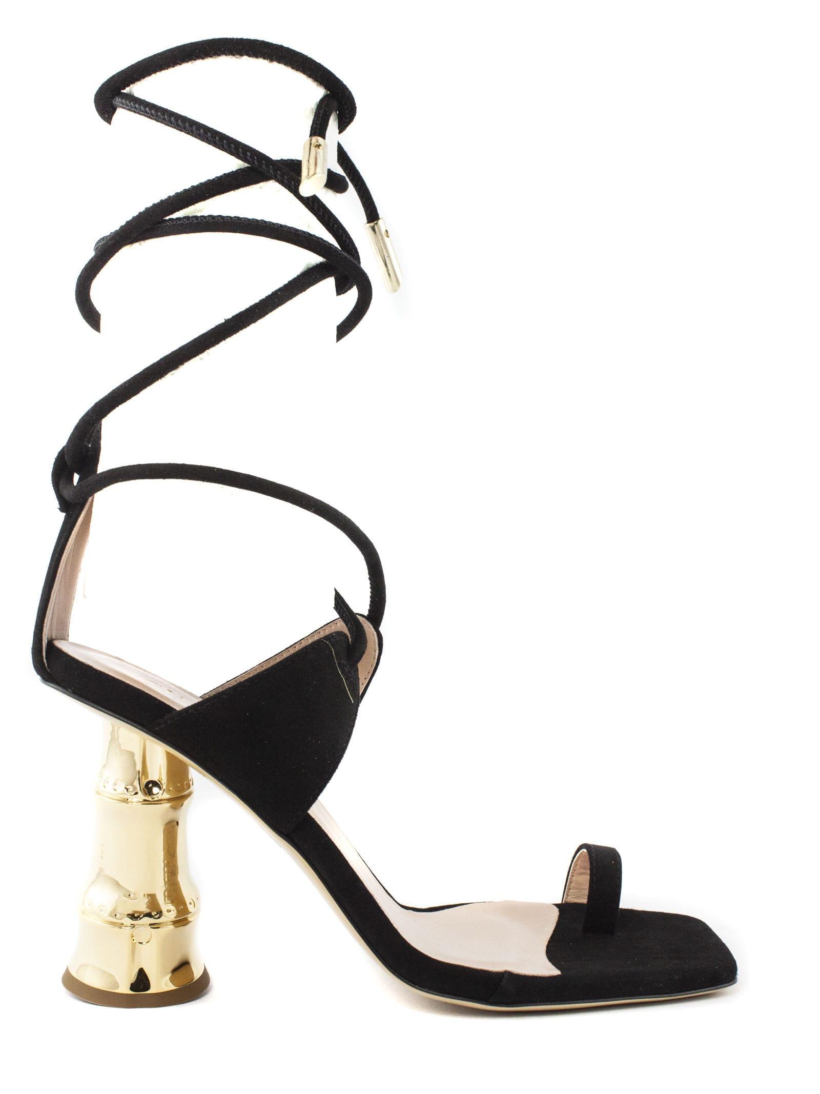 Gia Couture AQUILONE BLACK SUEDE SANDALS