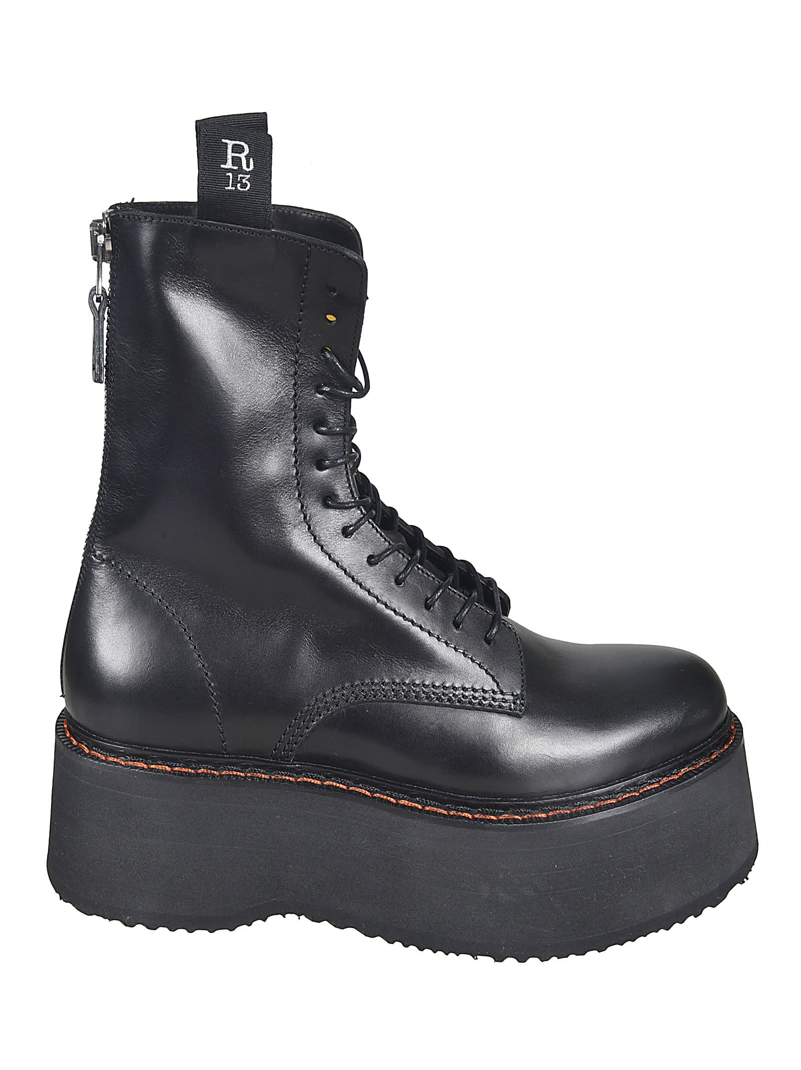 R13 REAR ZIPPED LACE-UP BOOTS