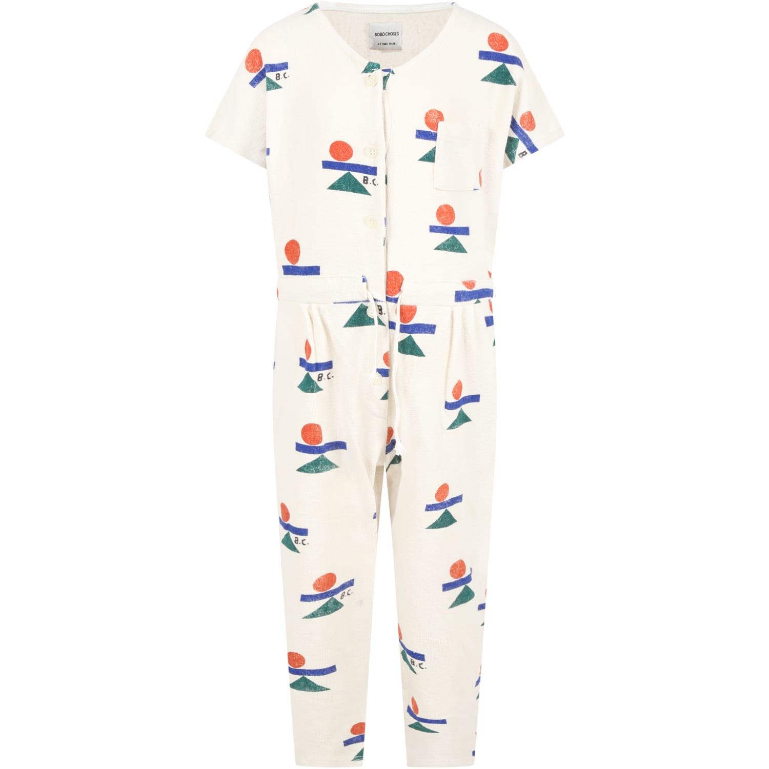 Bobo Choses Cottons IVORY JUMPSUIT FOR GIRL WITH LOGOS