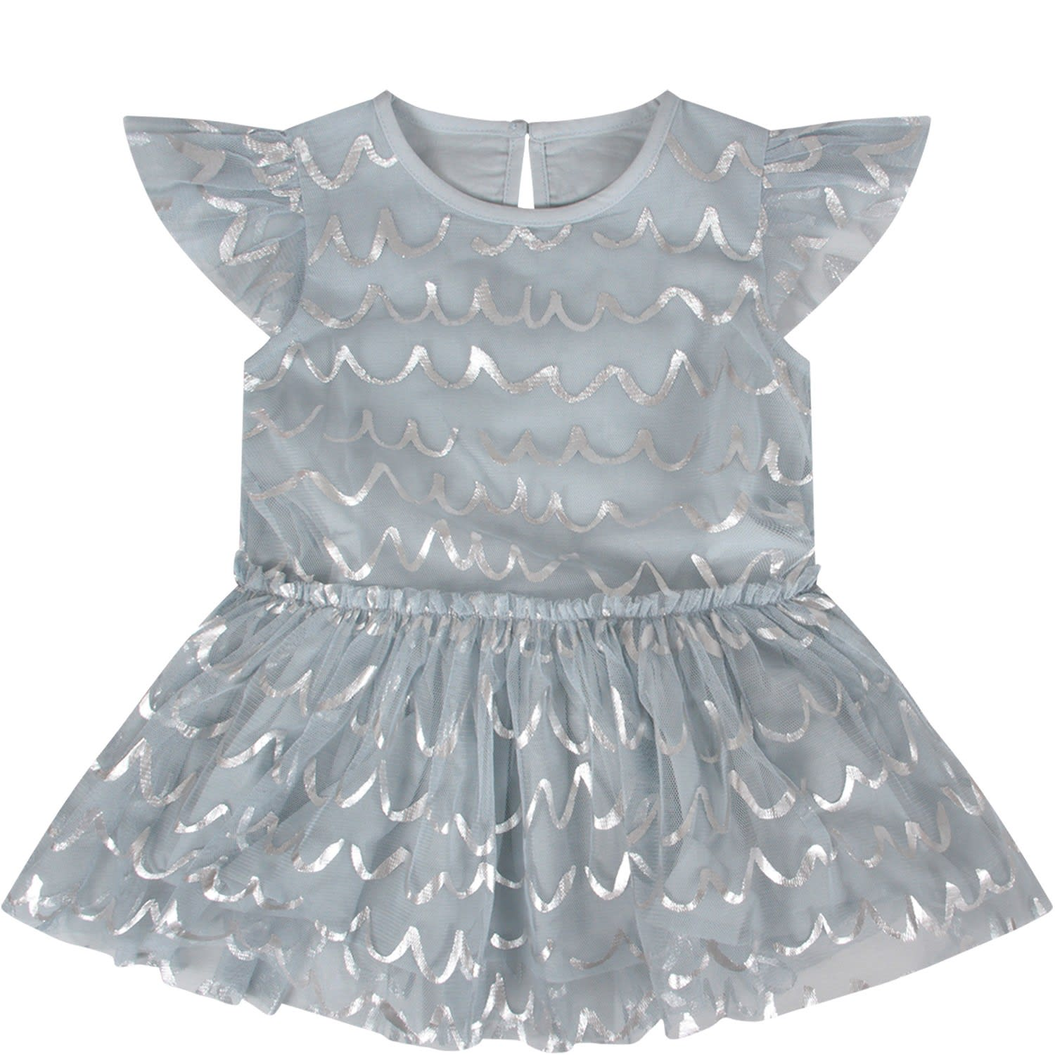 Buy Stella McCartney Kids Light Blue Babygirl Dress With Siver Waves online, shop Stella McCartney Kids with free shipping