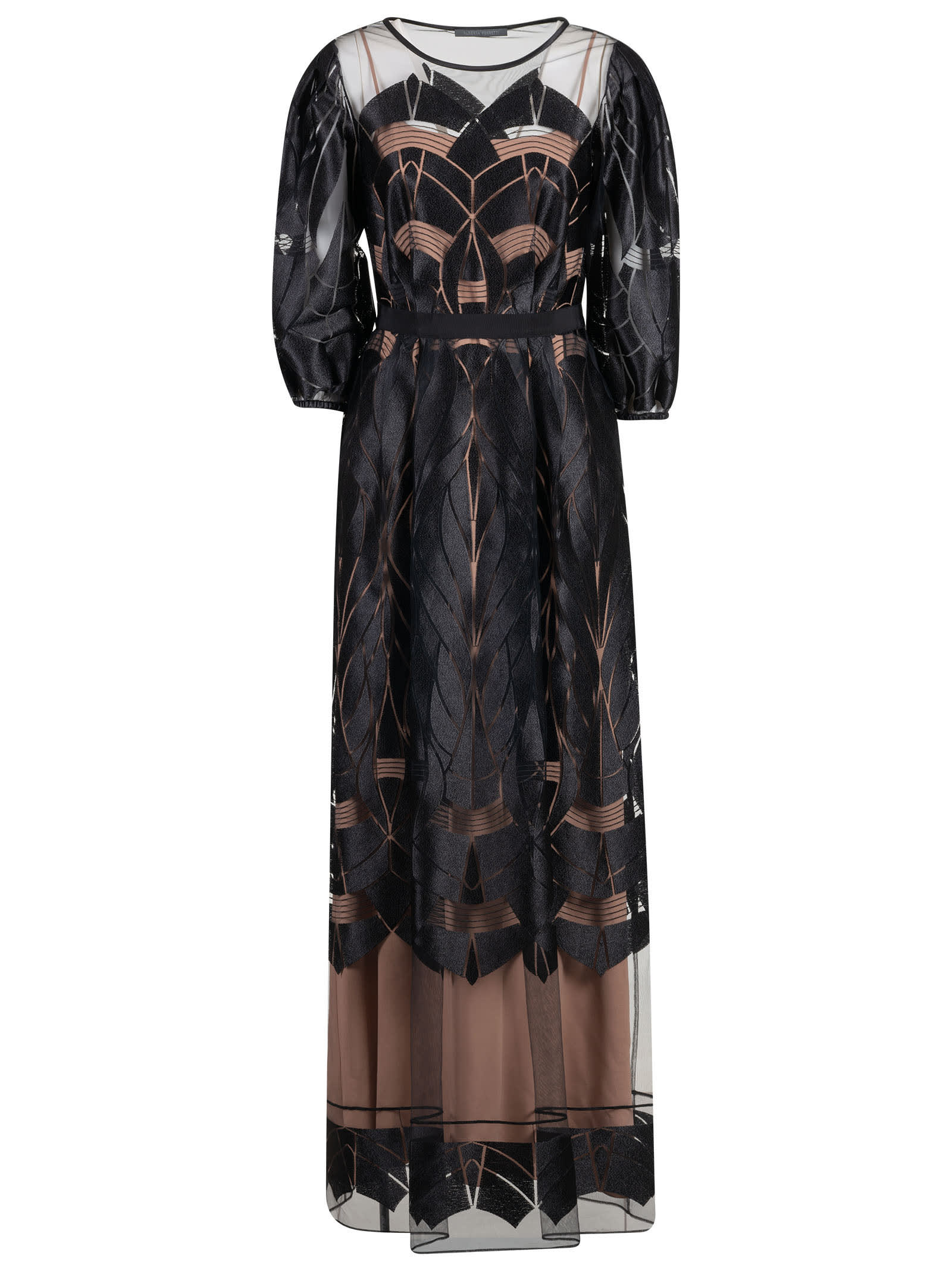 Alberta Ferretti Lace Applique Long Dress